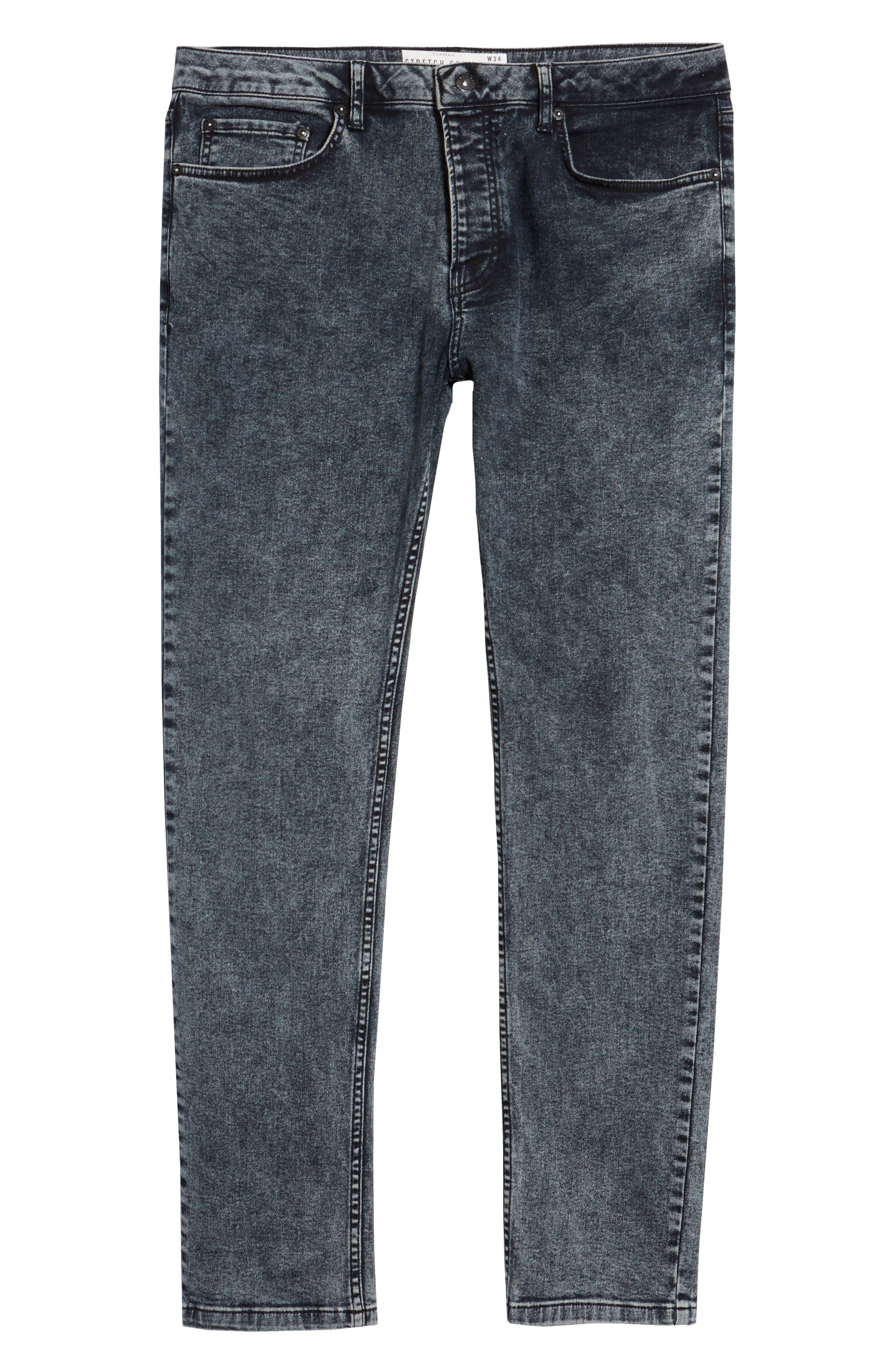 Acid Wash Stretch Skinny Jeans,                             Alternate thumbnail 6, color,                             GREY
