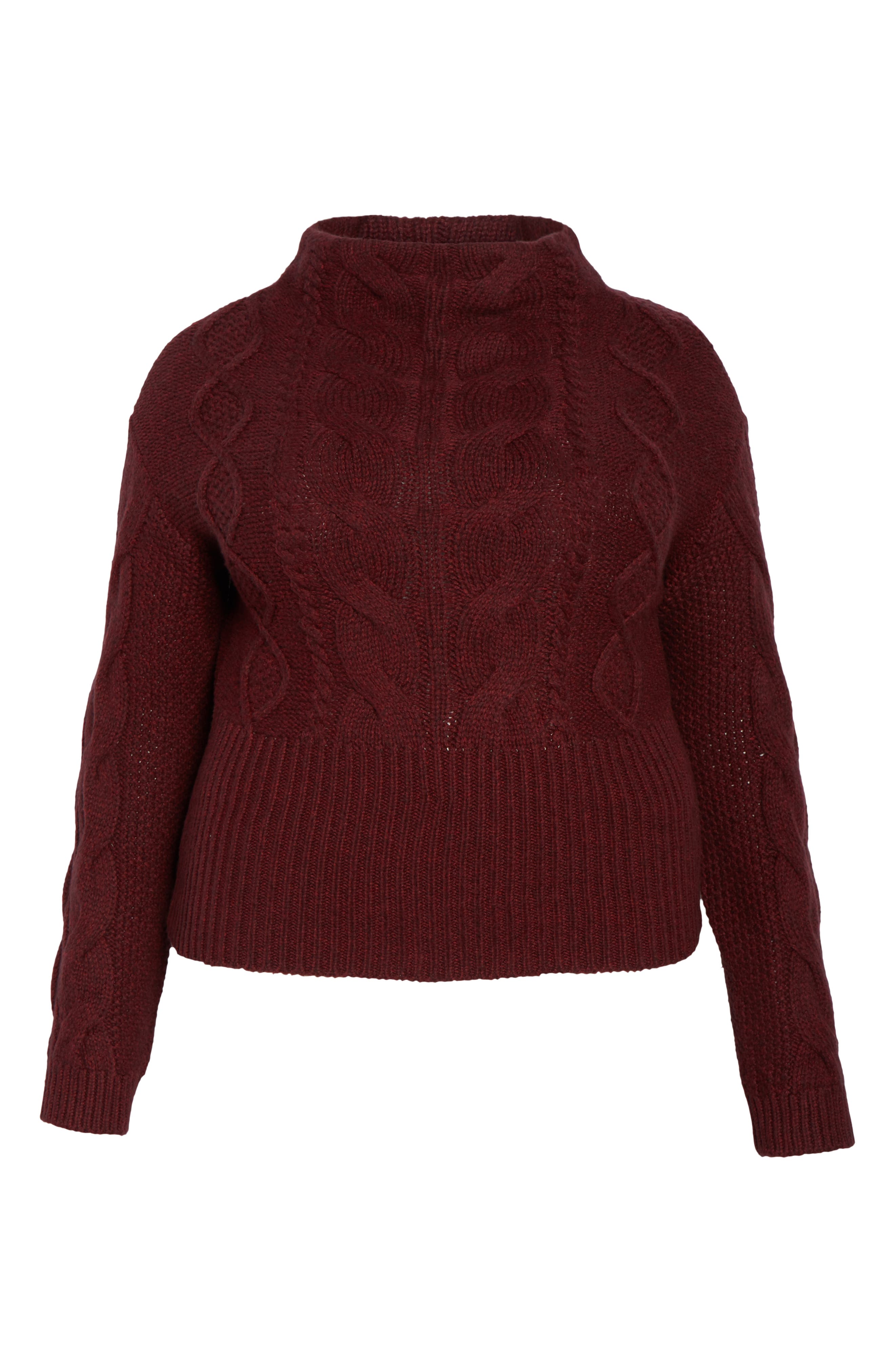 Cotton Blend Cable Knit Sweater,                             Alternate thumbnail 8, color,                             MANOR RED