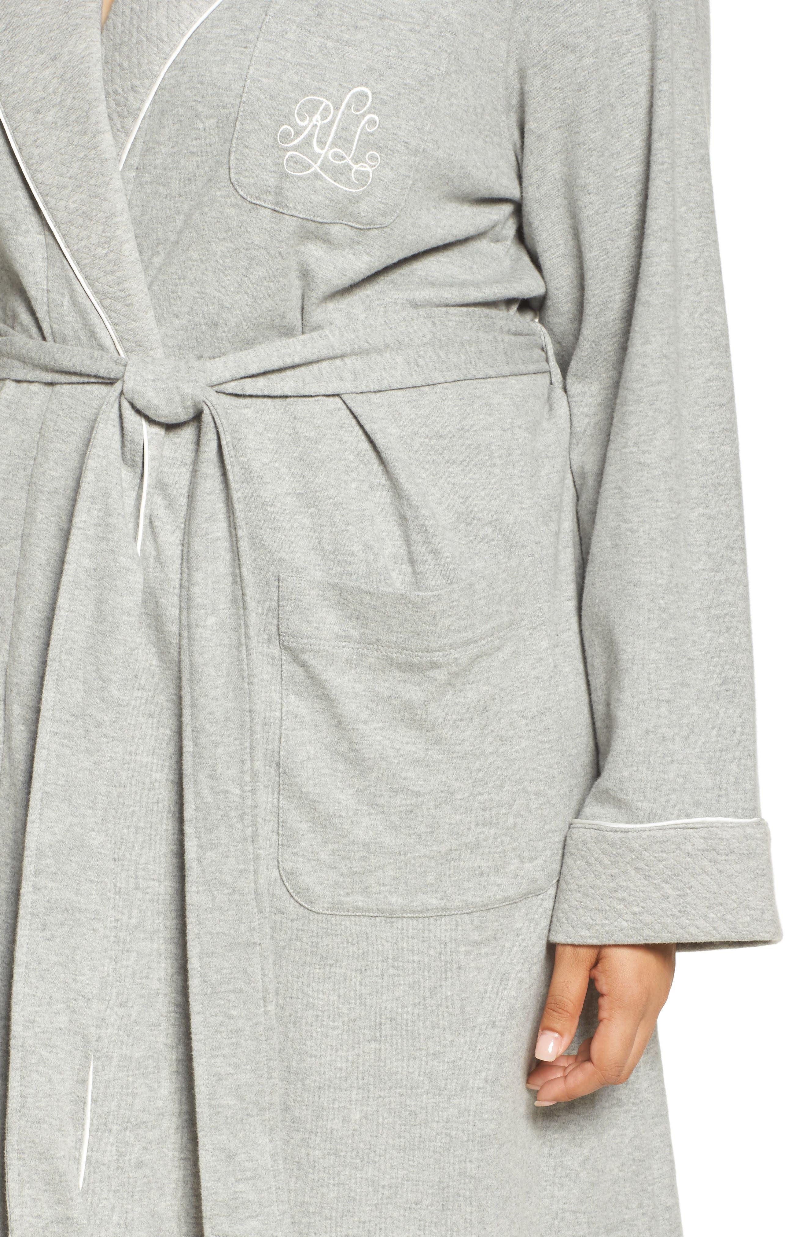 Shawl Collar Robe,                             Alternate thumbnail 5, color,                             HEATHER GREY