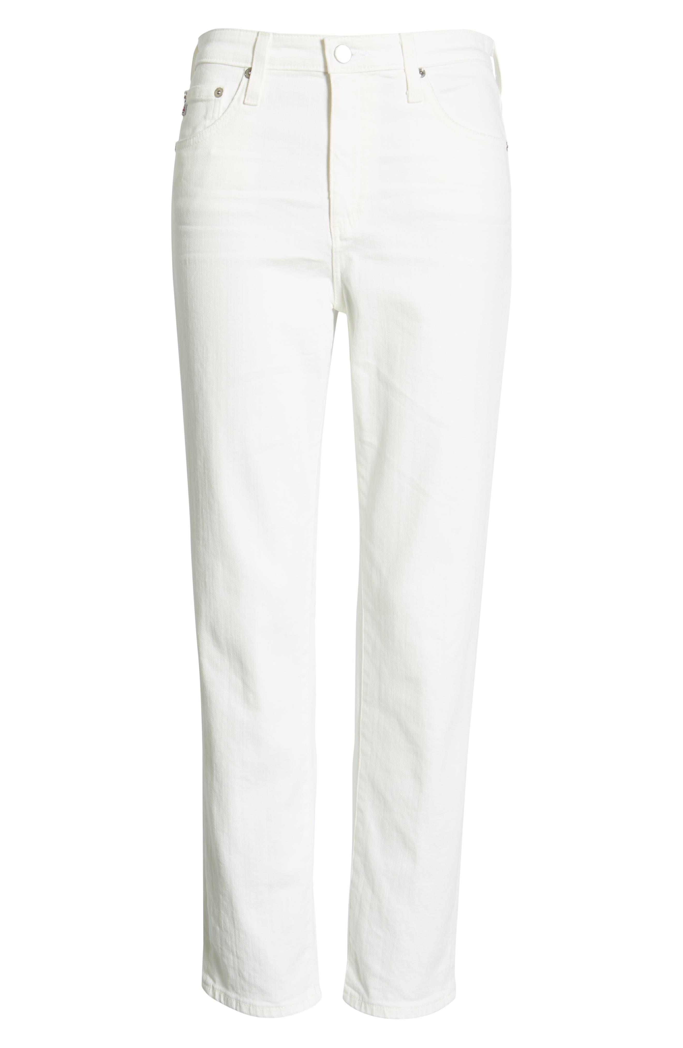 AG,                             The Isabelle High Waist Crop Straight Leg Jeans,                             Alternate thumbnail 7, color,                             01 YEAR TONAL WHITE