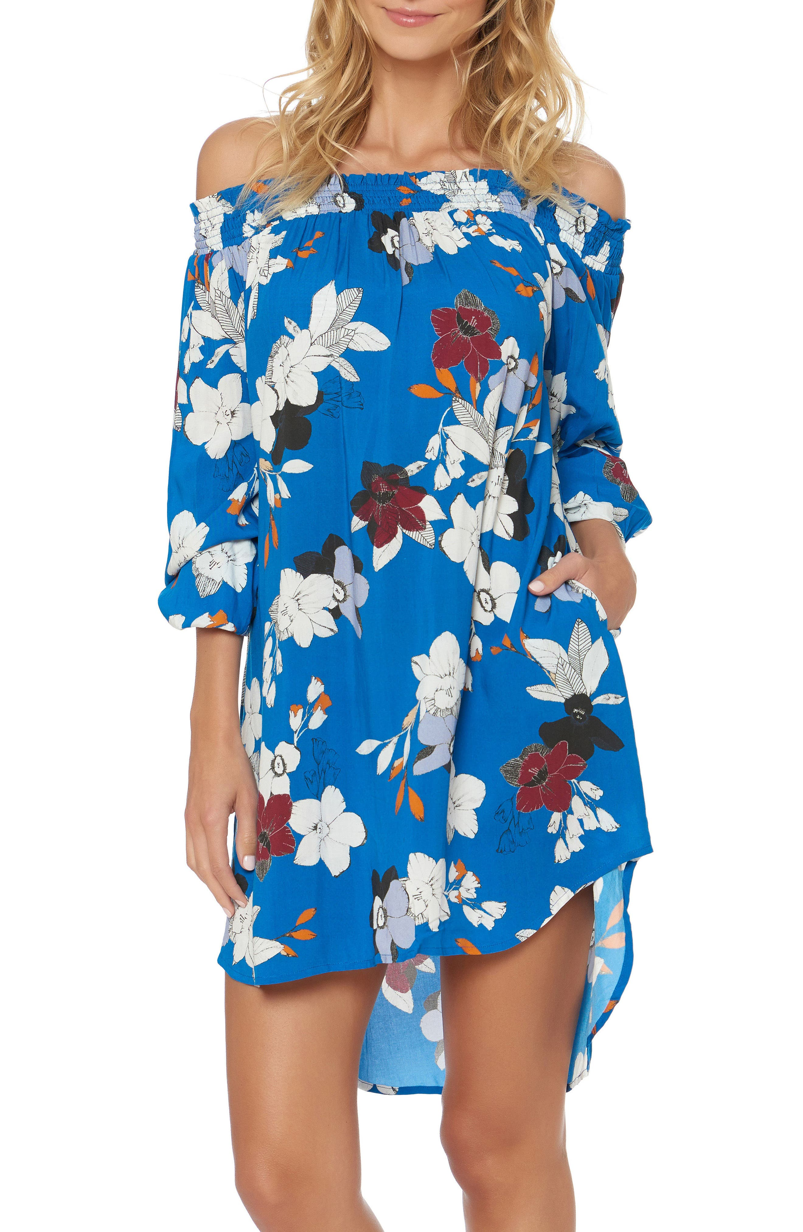 Floral Off the Shoulder Cover-Up Dress,                             Main thumbnail 1, color,                             VISION