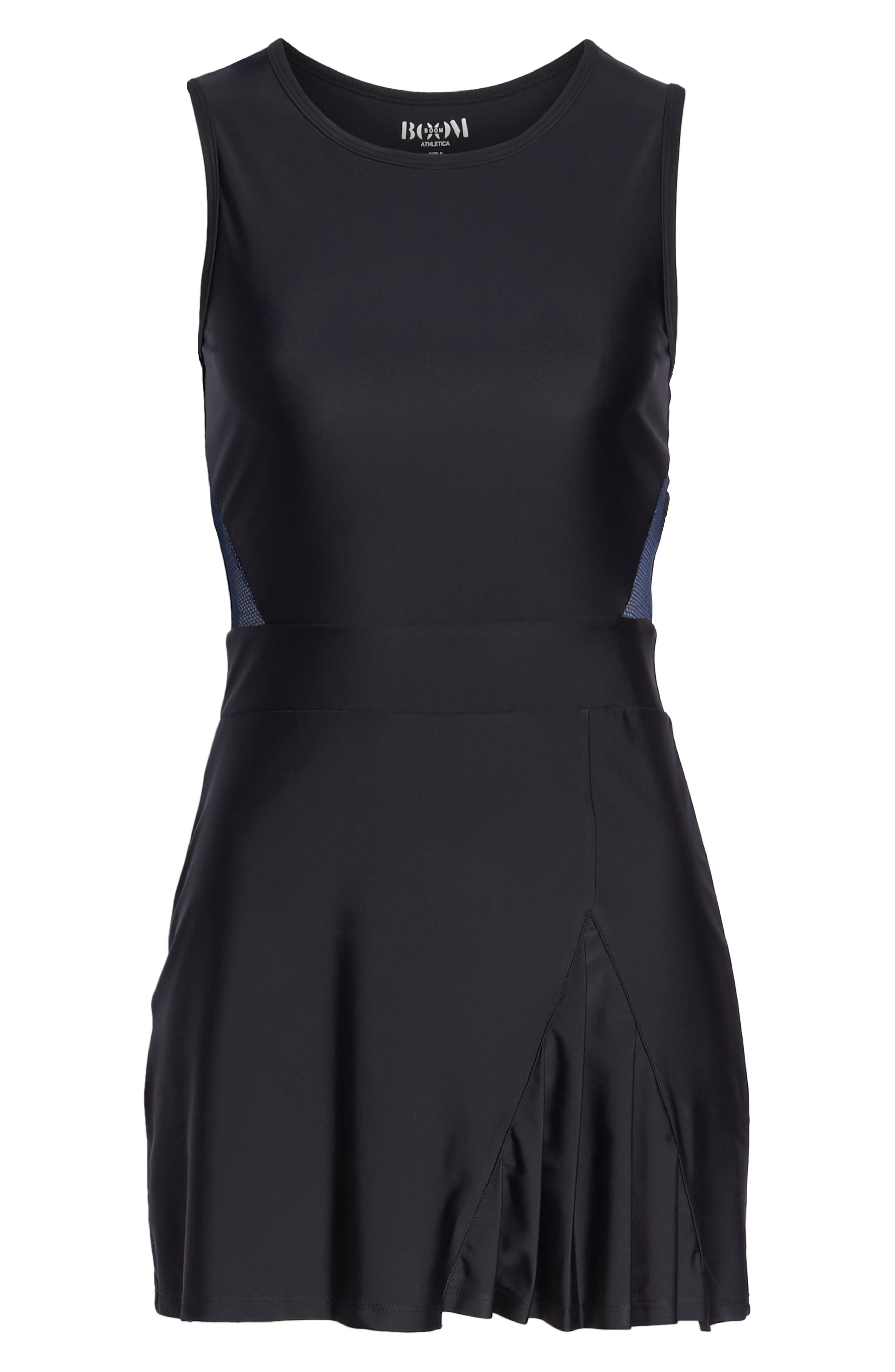 BoomBoom Athletica Tennis Dress,                             Alternate thumbnail 7, color,                             BLACK/ NAVY