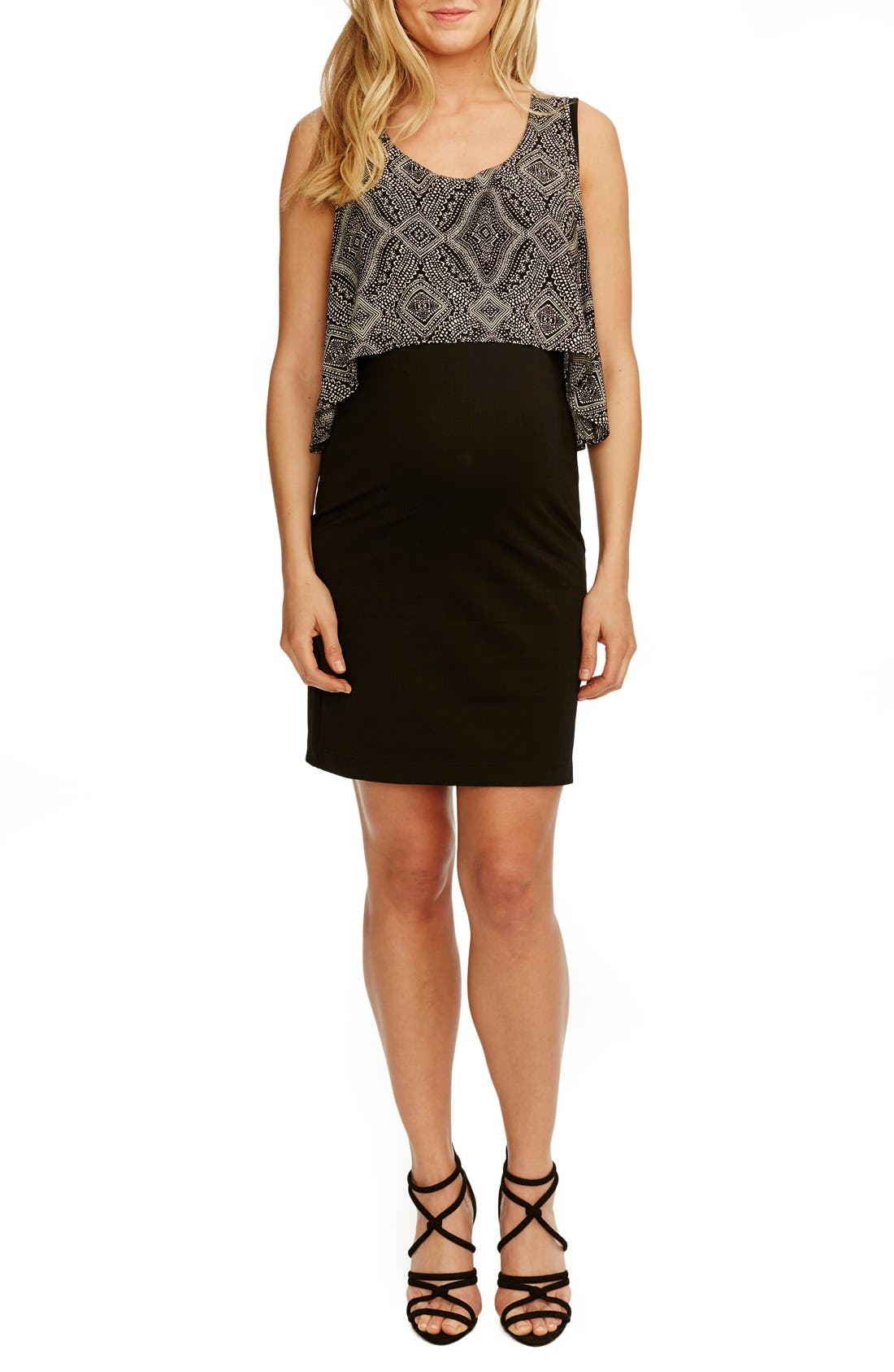 'Gladis' Sleeveless Popover Maternity Dress,                             Main thumbnail 1, color,                             BLACK W/ SAND