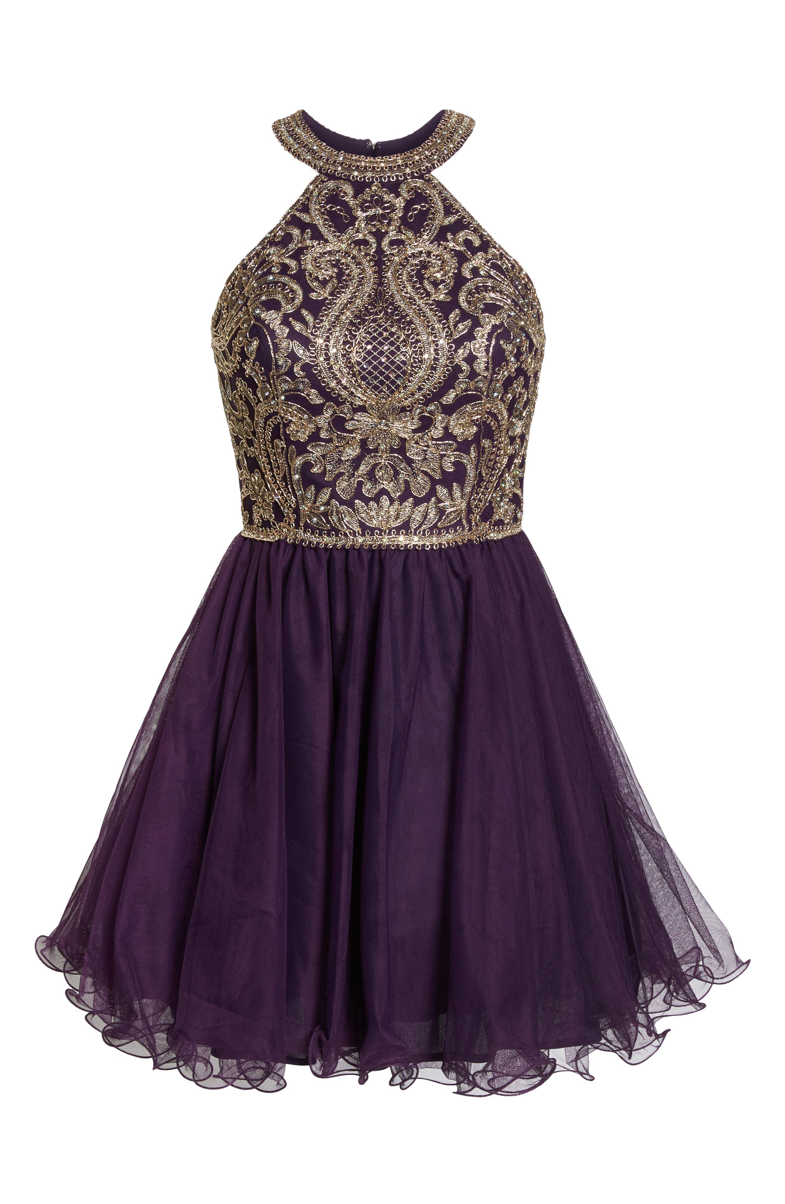 BLONDIE NITES,                             High Neck Appliqué Fit & Flare Dress,                             Alternate thumbnail 7, color,                             522