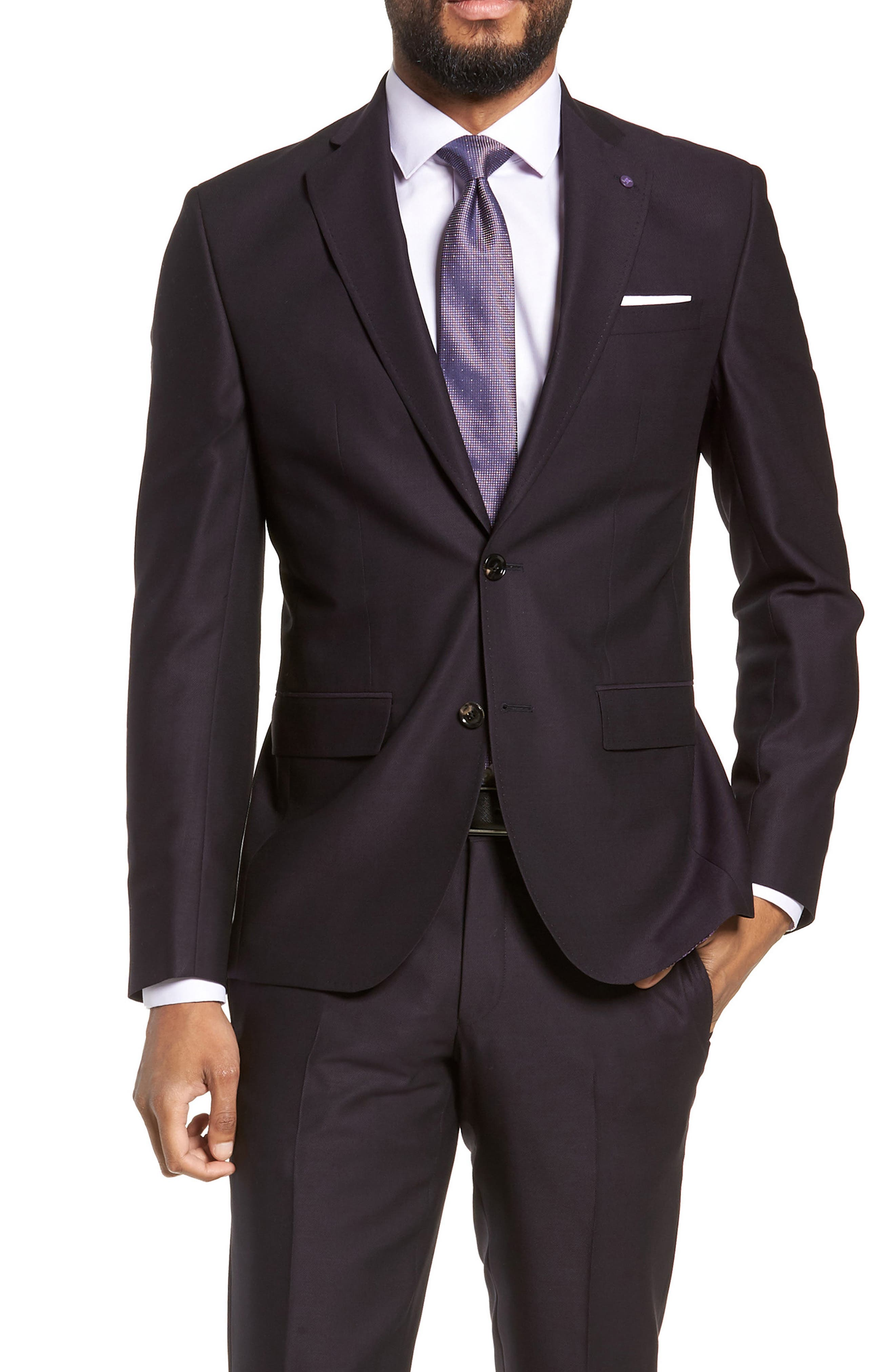 Roger Extra Trim Fit Solid Wool Suit,                             Alternate thumbnail 5, color,                             DEEP EGGPLANT