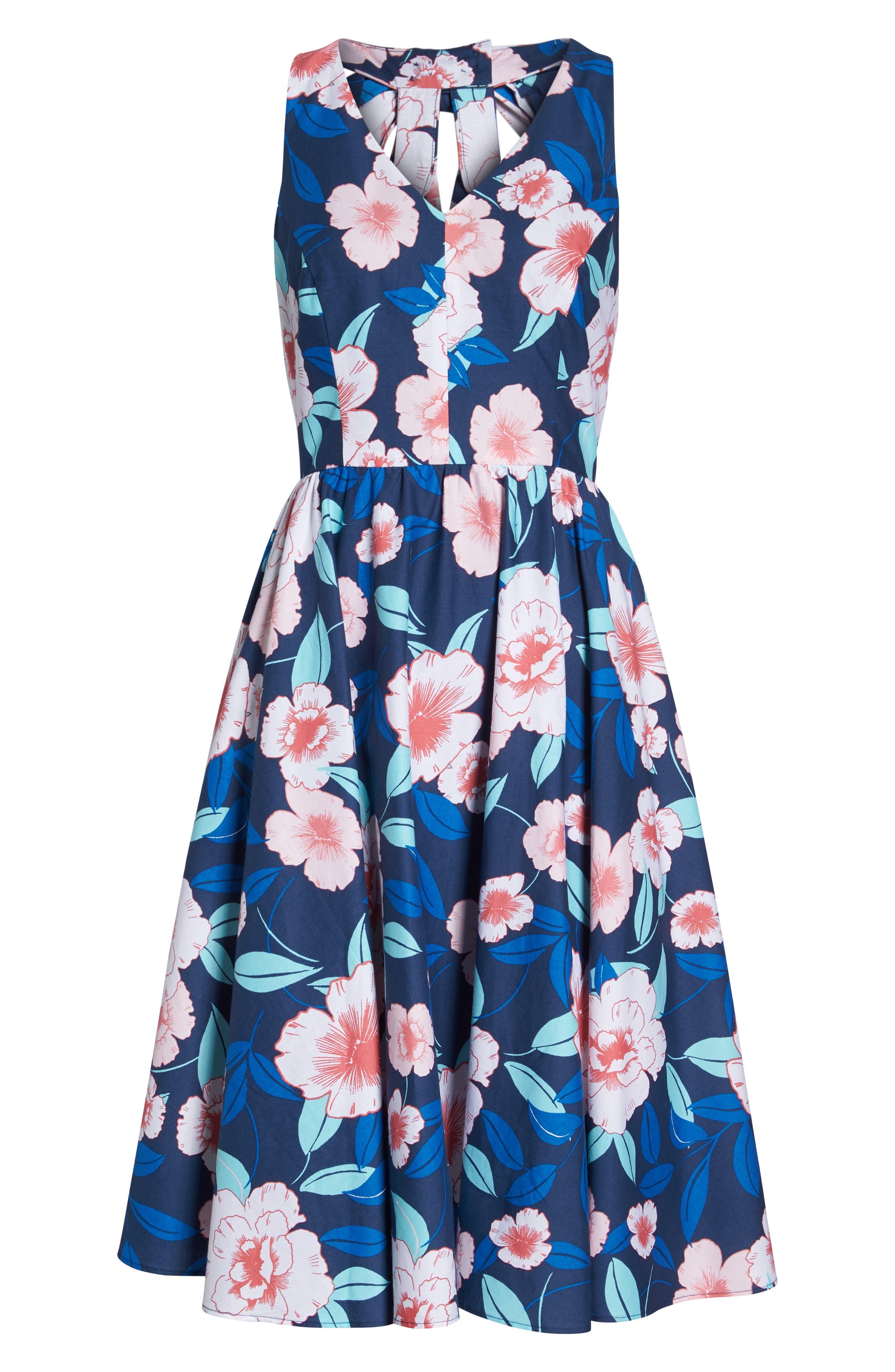 Floral Fit & Flare Halter Dress,                             Alternate thumbnail 7, color,                             410