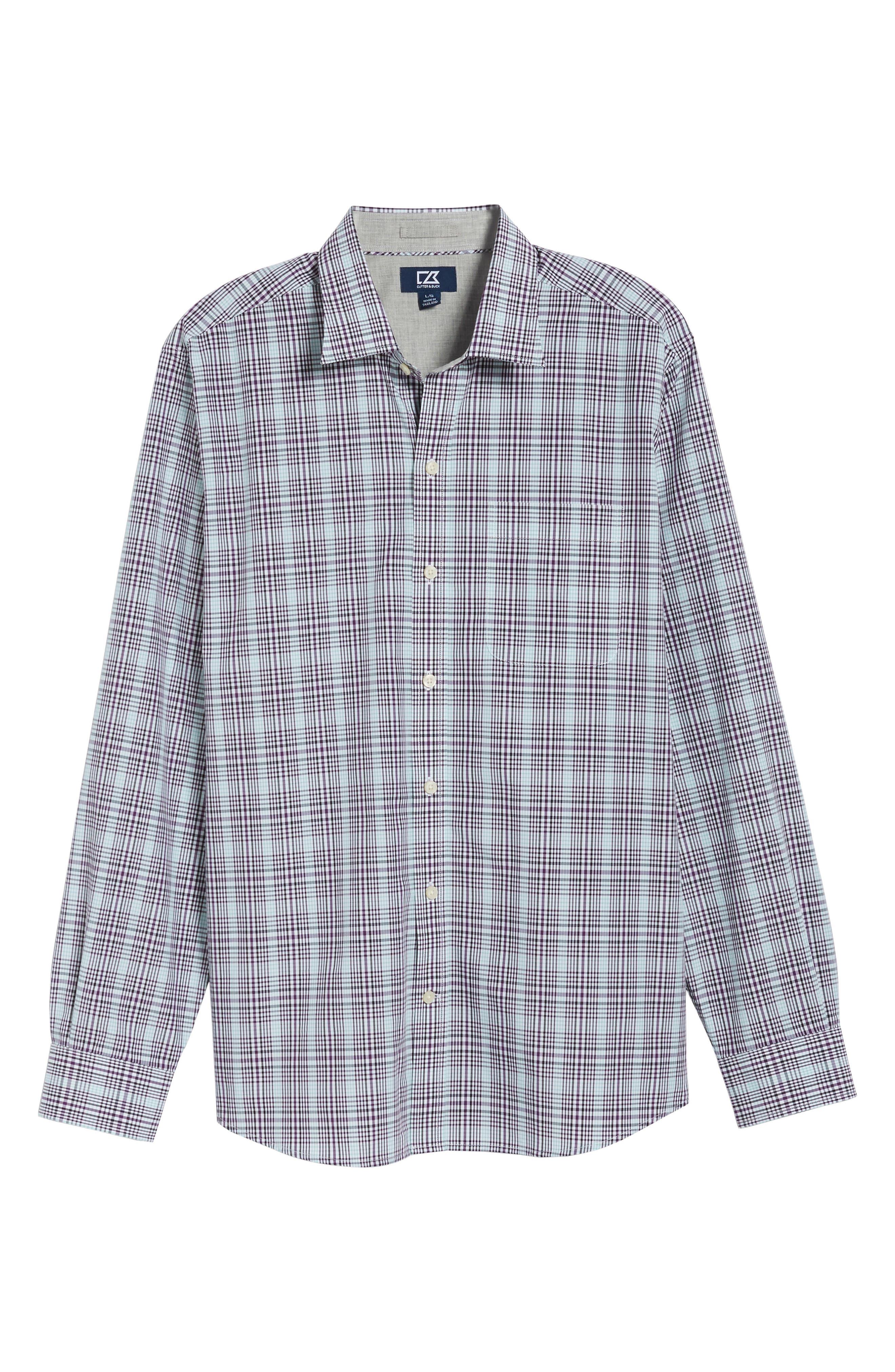 Hoyt Non-Iron Plaid Sport Shirt,                             Alternate thumbnail 6, color,                             522