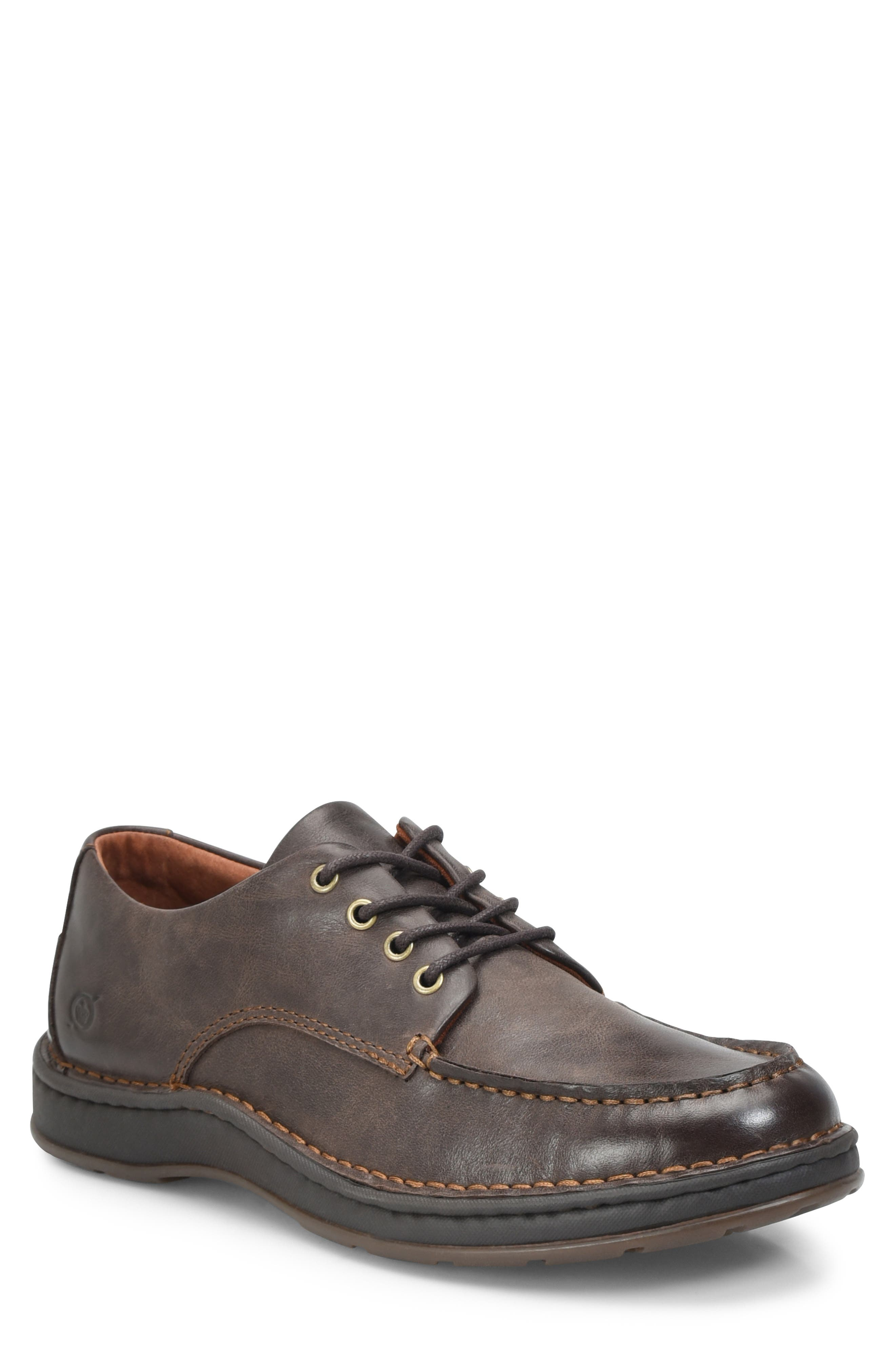 Leon Moc Toe Derby,                         Main,                         color, DARK BROWN LEATHER