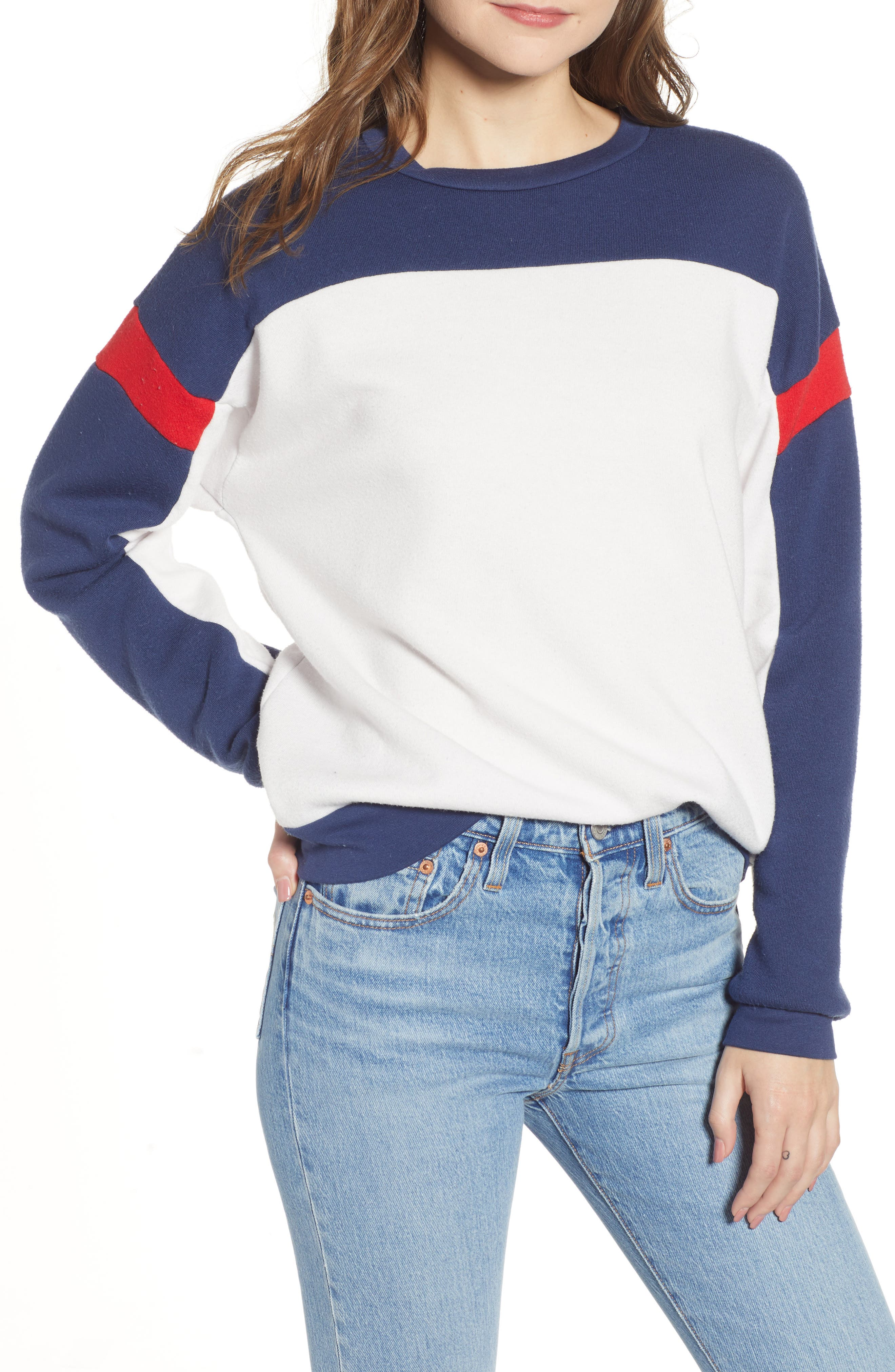 PROJECT SOCIAL T Rewind Colorblock Sweatshirt in Ivory/ Navy/ Red
