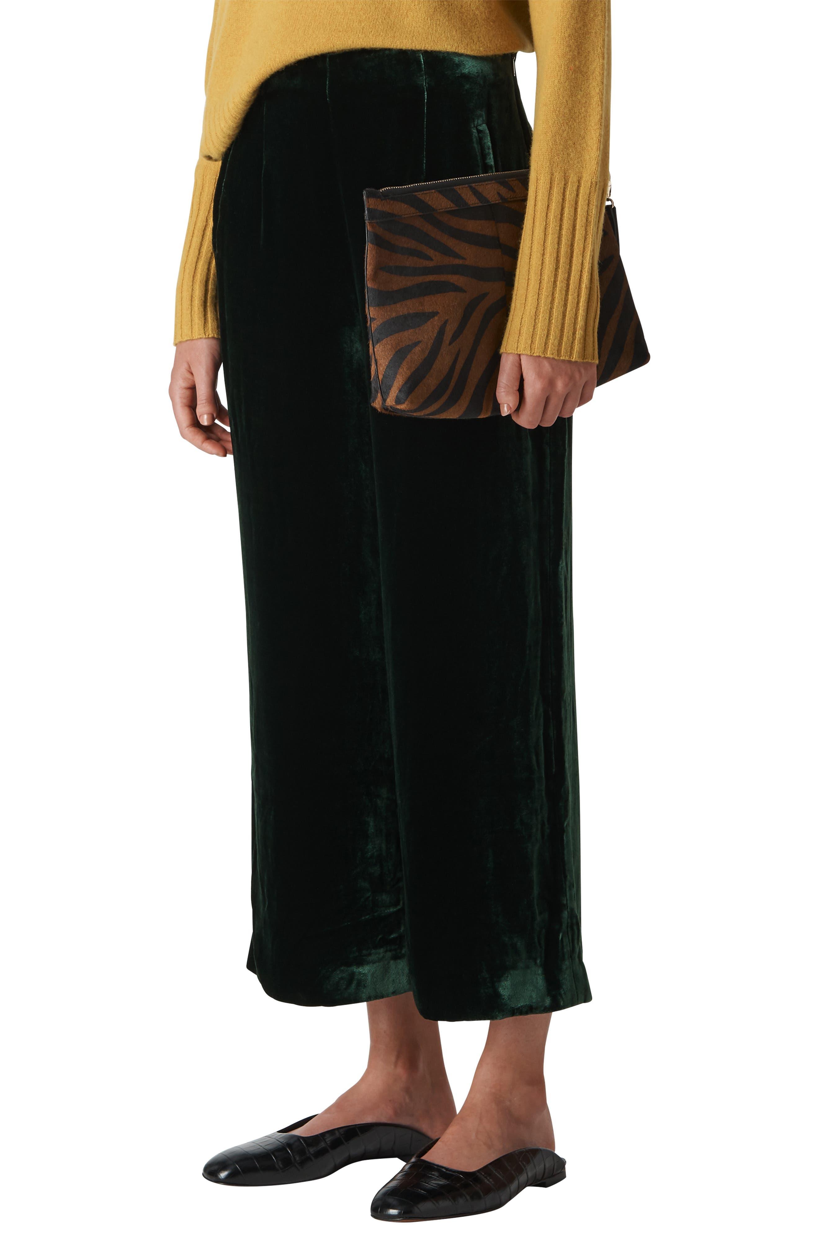Velvet Crop Trousers,                         Main,                         color, DARK GREEN