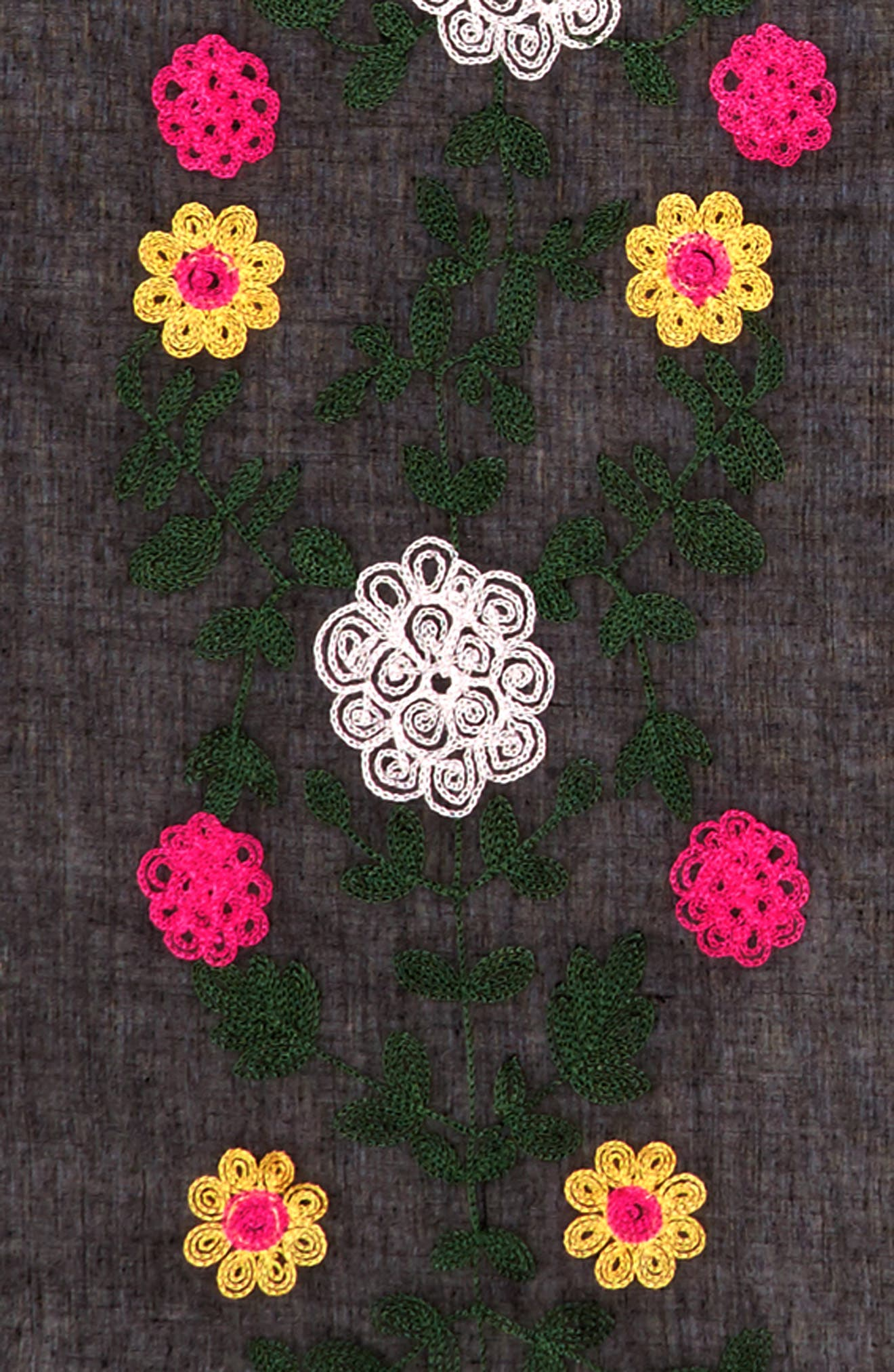 Embroidered Square Scarf,                             Alternate thumbnail 3, color,                             001