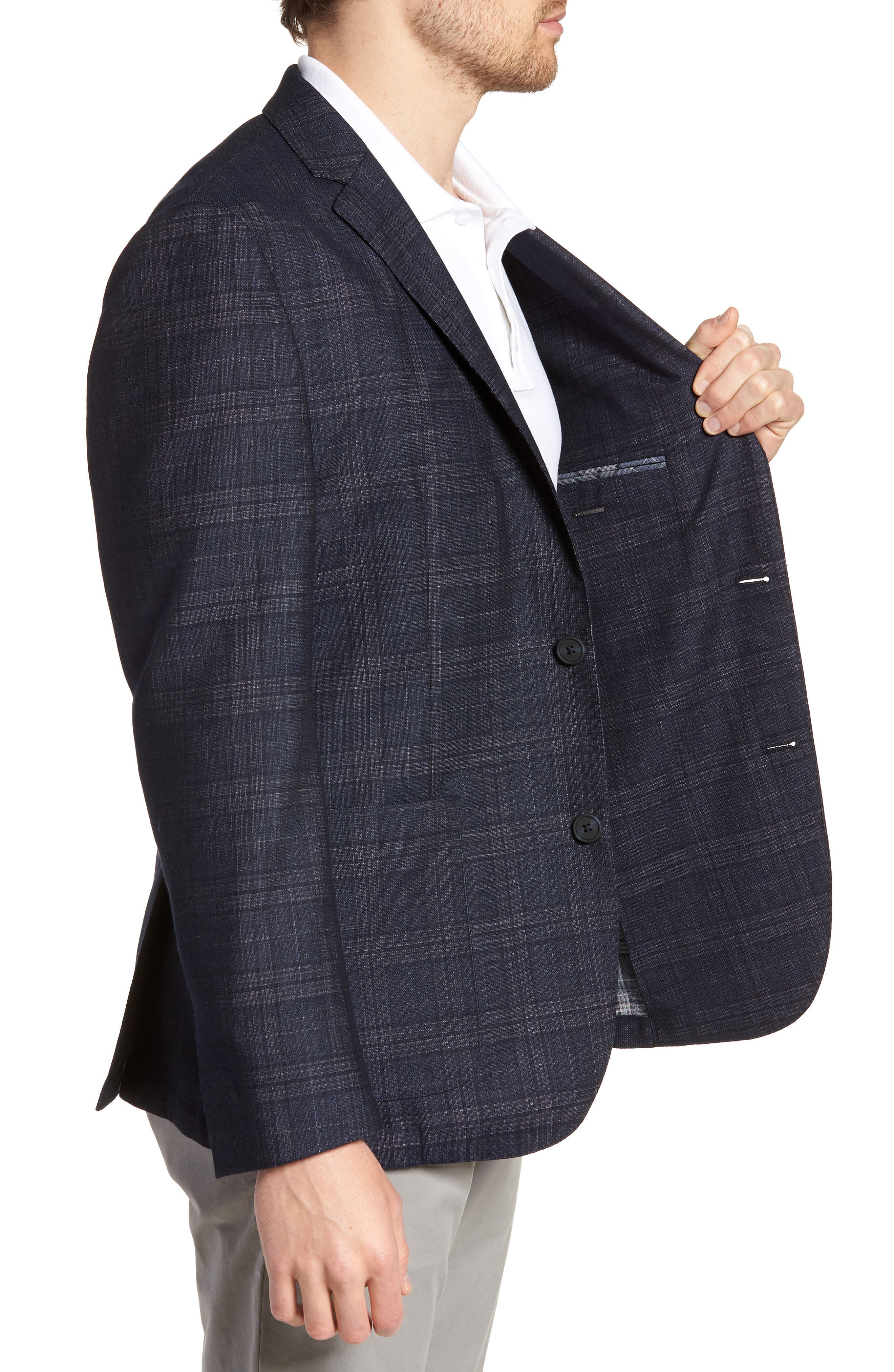 VINCE CAMUTO,                             Dell Aria Unconstructed Sport Coat,                             Alternate thumbnail 3, color,                             NAVY GRIN THRU