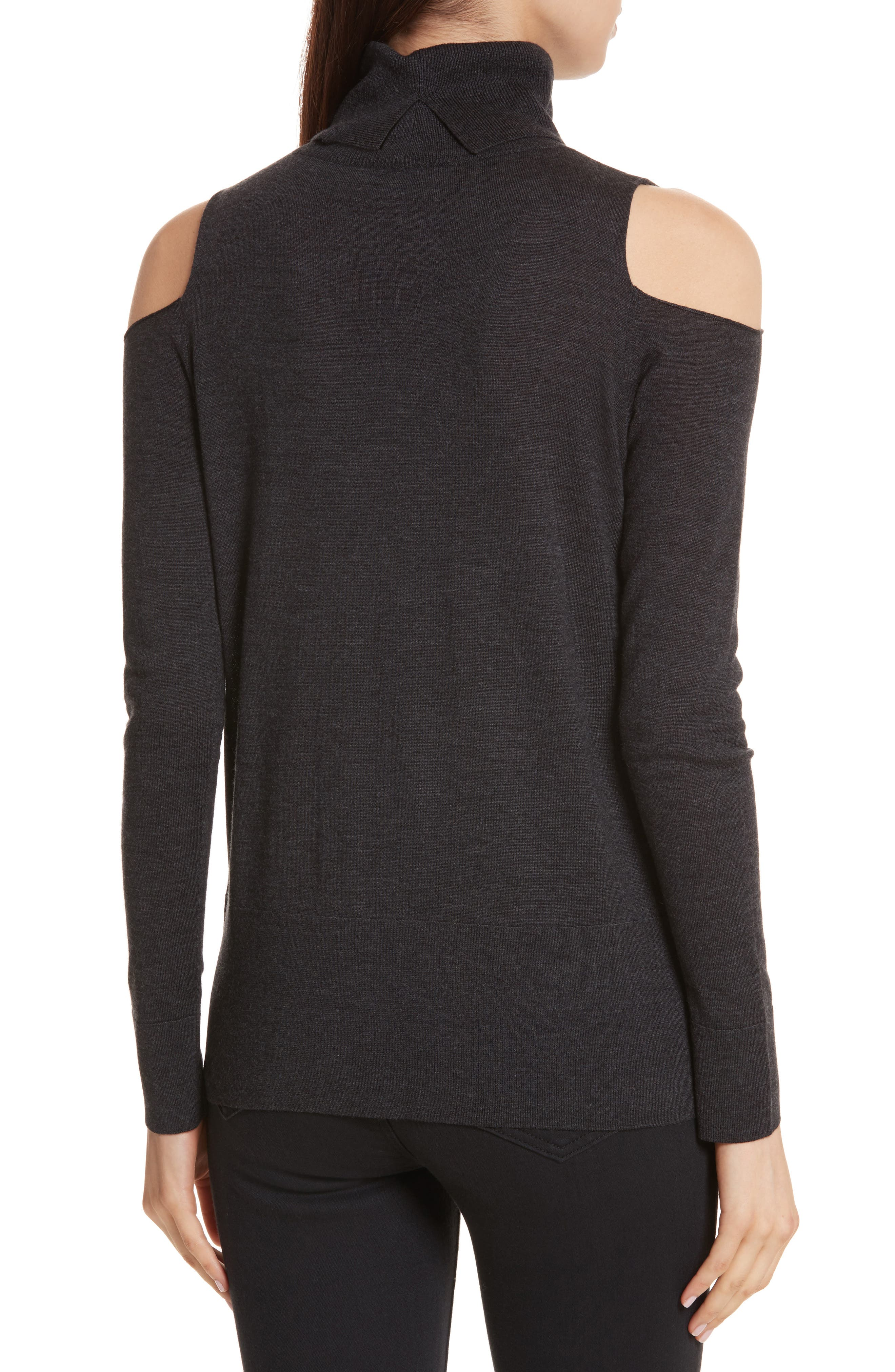 Merino Wool Cold Shoulder Turtleneck Sweater,                             Alternate thumbnail 2, color,