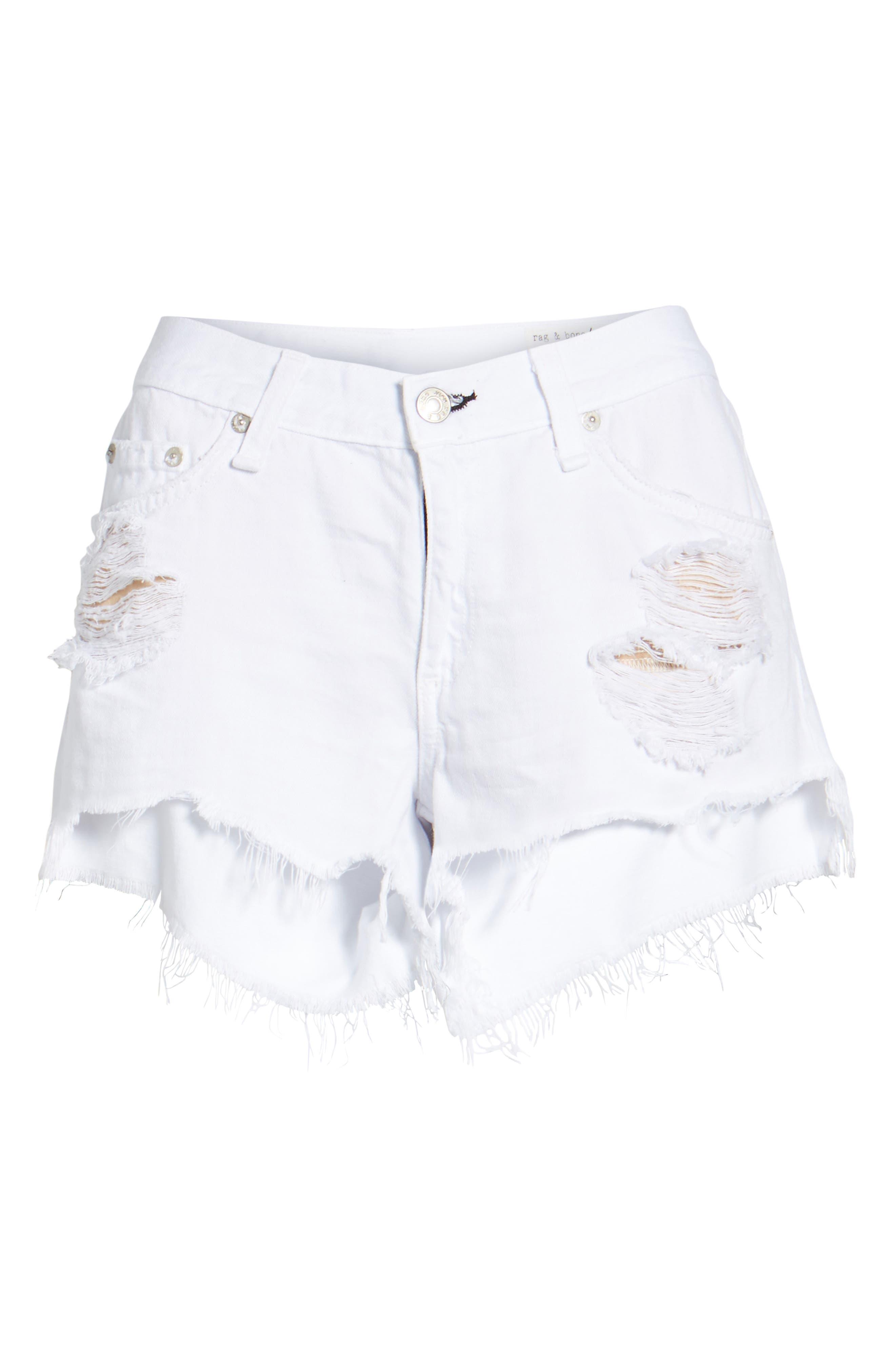 Ripped Cutoff Denim Shorts,                             Alternate thumbnail 4, color,