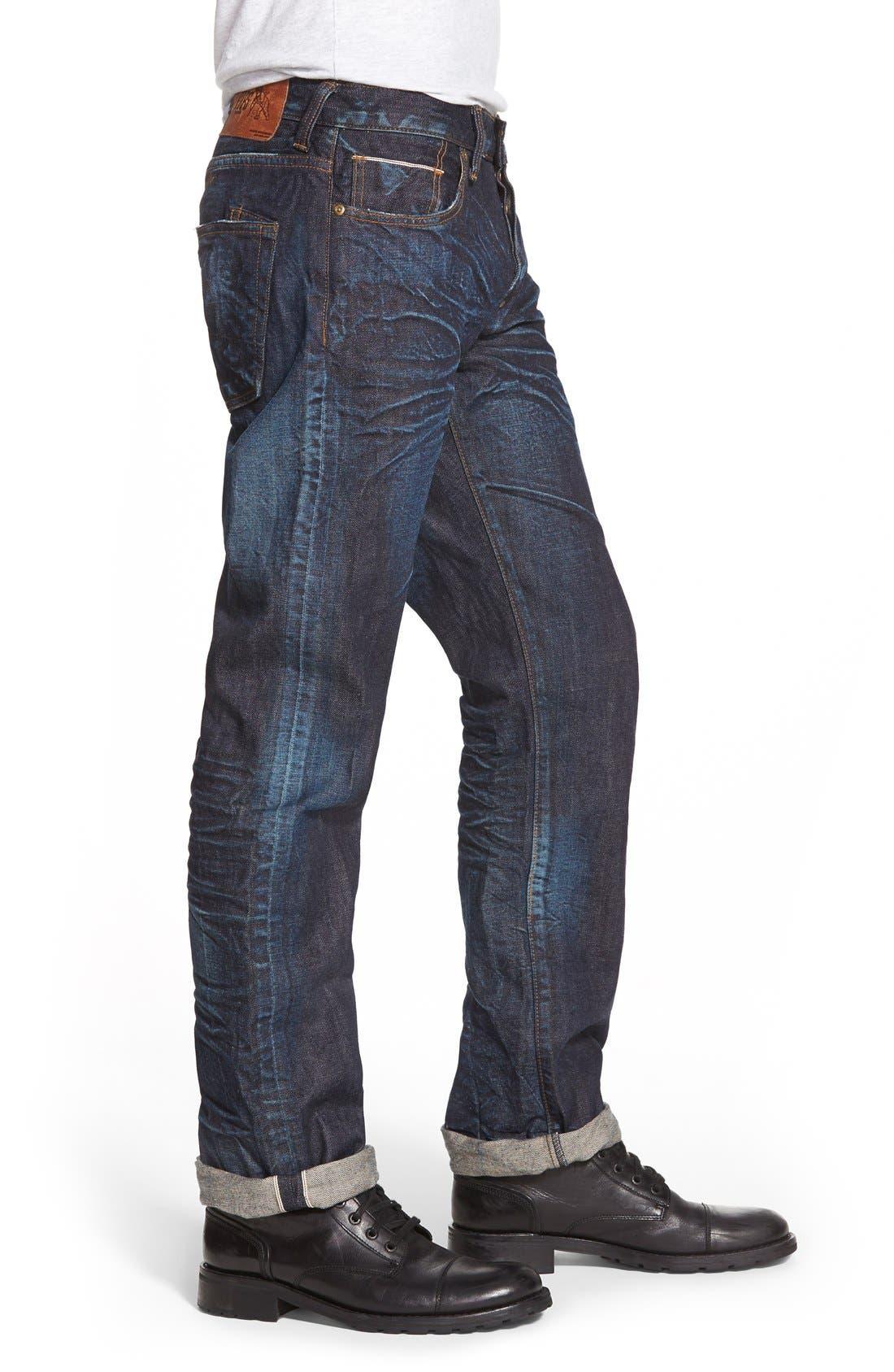 'Barracuda' Straight Leg Selvedge Jeans,                             Alternate thumbnail 4, color,