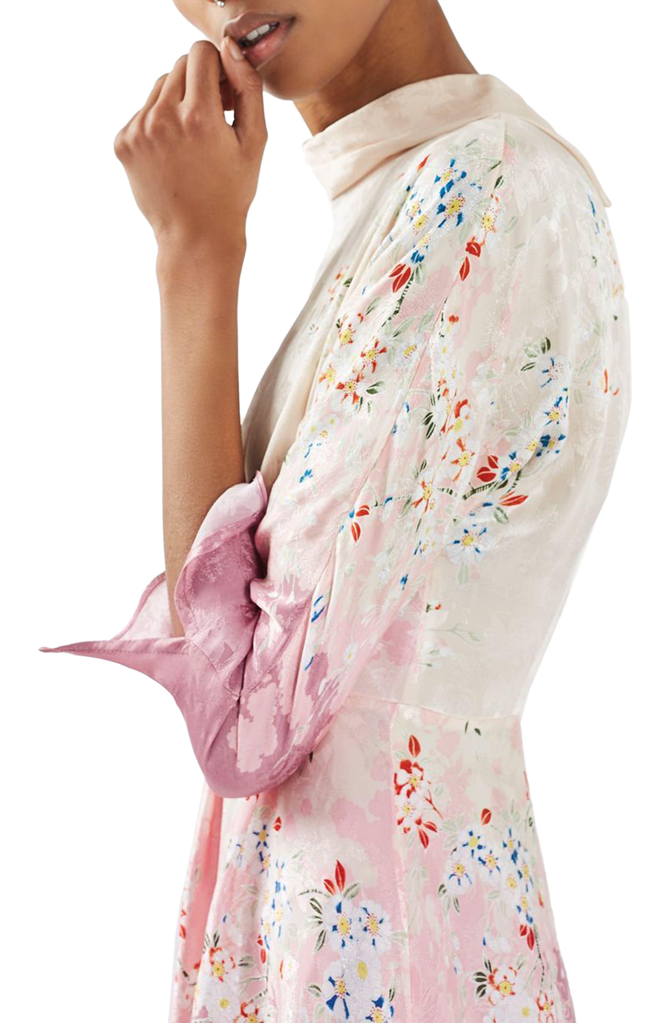 Jacquard Floral Print Dress,                             Alternate thumbnail 3, color,                             680