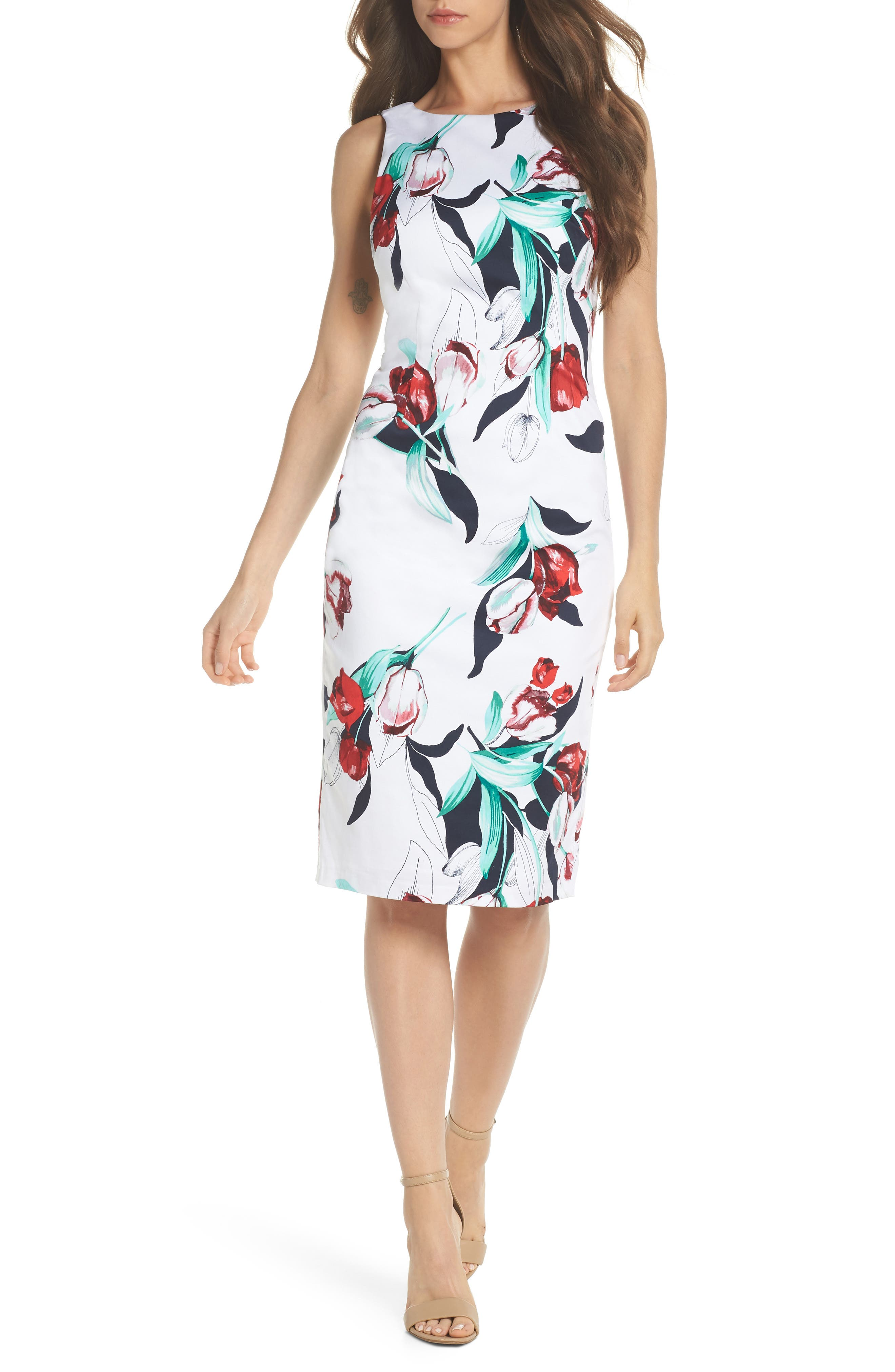 Dynasty Floral Print Stretch Sheath Dress,                             Main thumbnail 1, color,                             607