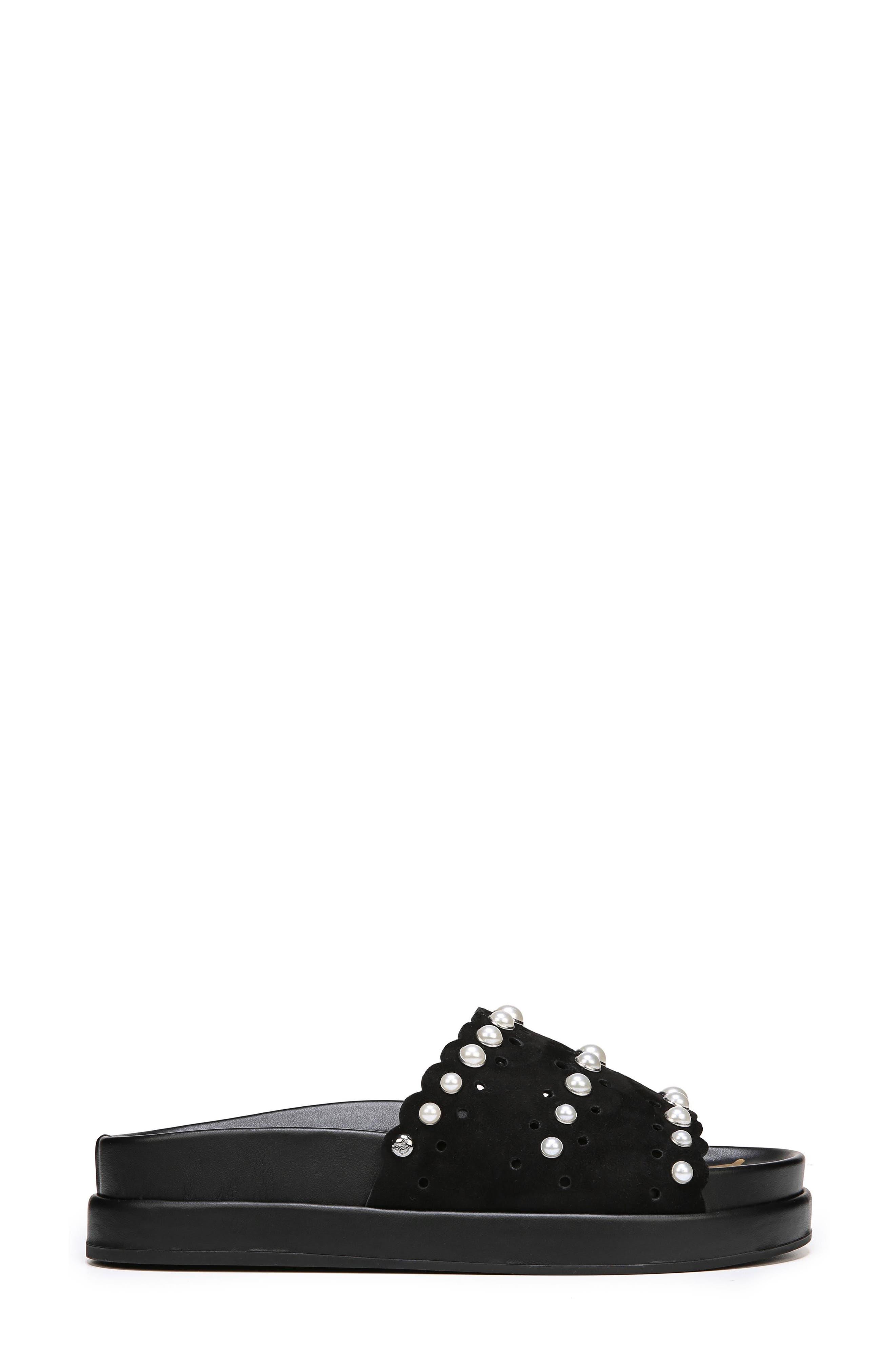 Sera Slide Sandal,                             Alternate thumbnail 3, color,                             BLACK SUEDE