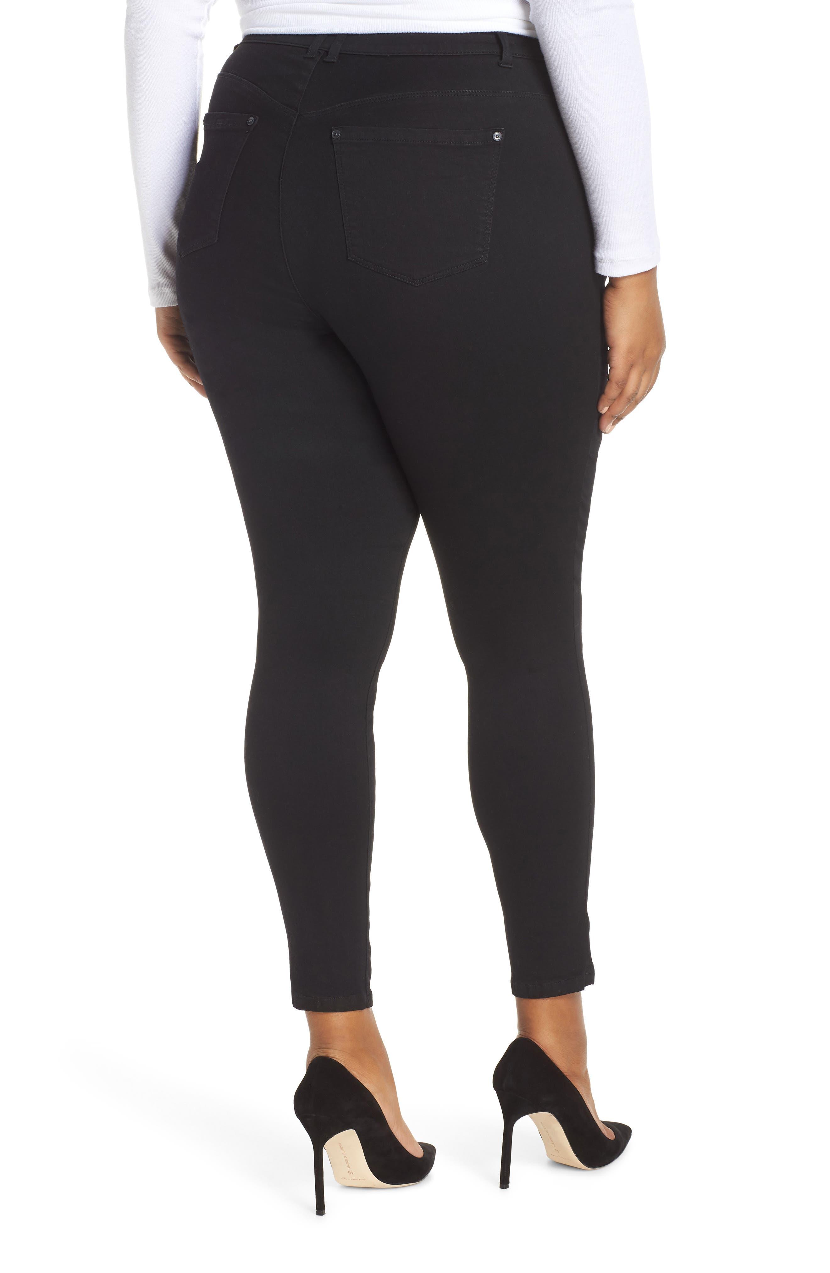 WIT & WISDOM, 30/11 Ab-solution High Waist Skinny Jeans, Alternate thumbnail 2, color, BLACK
