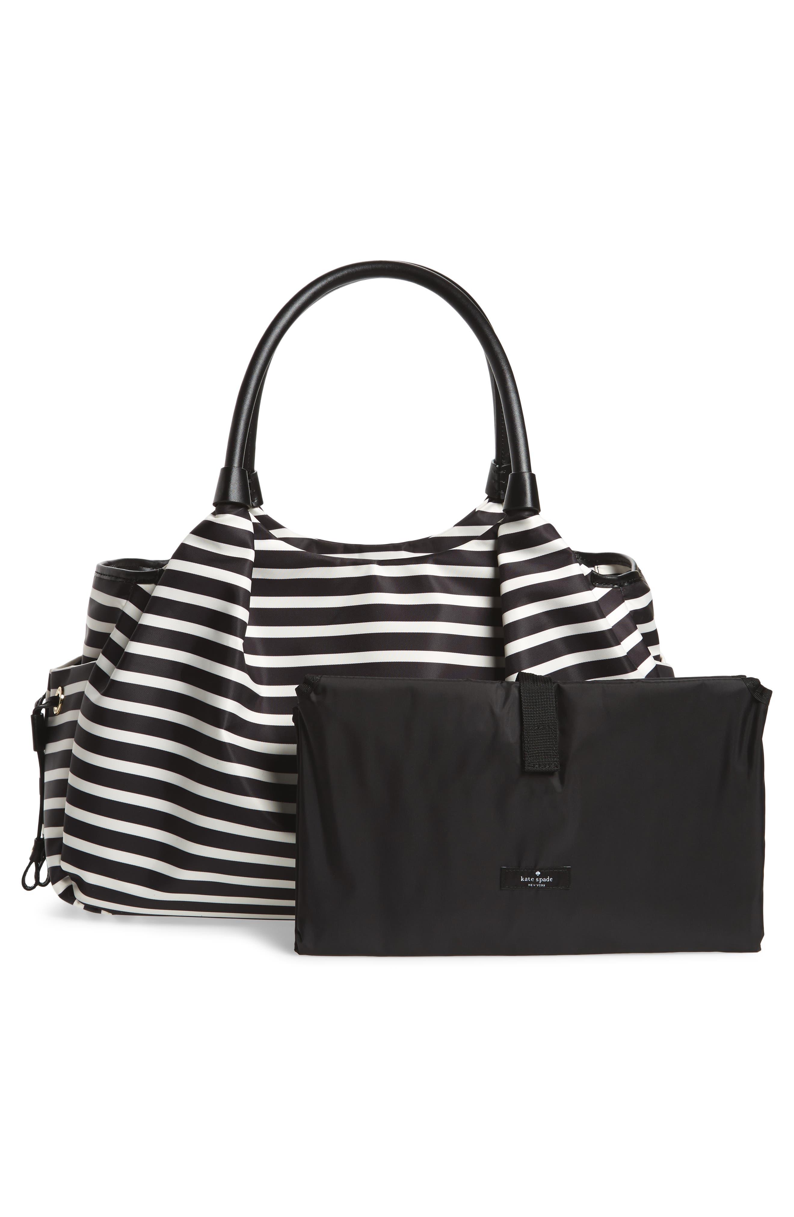 watson lane - stevie diaper bag,                             Alternate thumbnail 3, color,                             BLACK/ CLOTTED CREAM