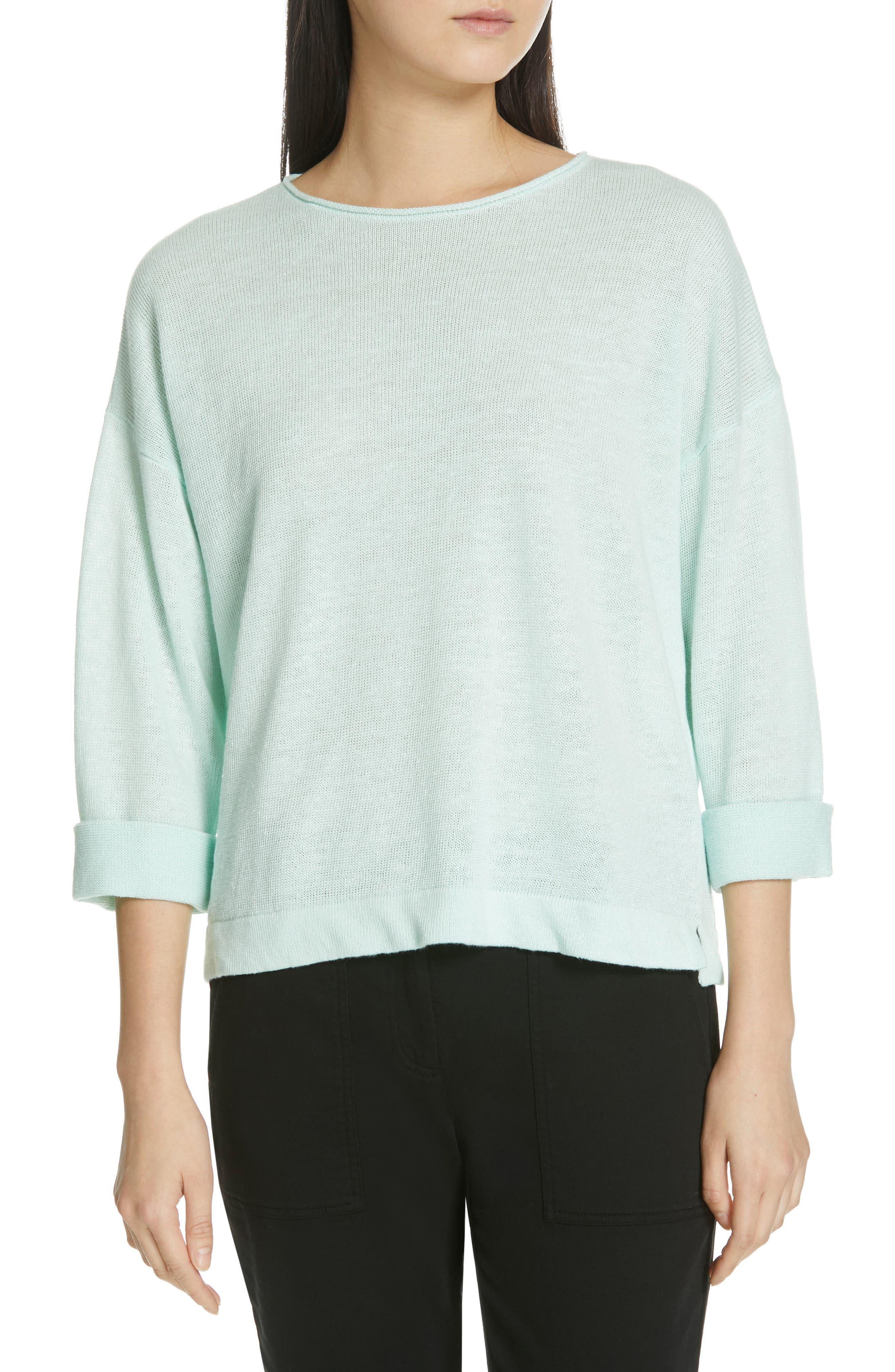 Eileen Fisher Round Neck Organic Linen Top, Blue