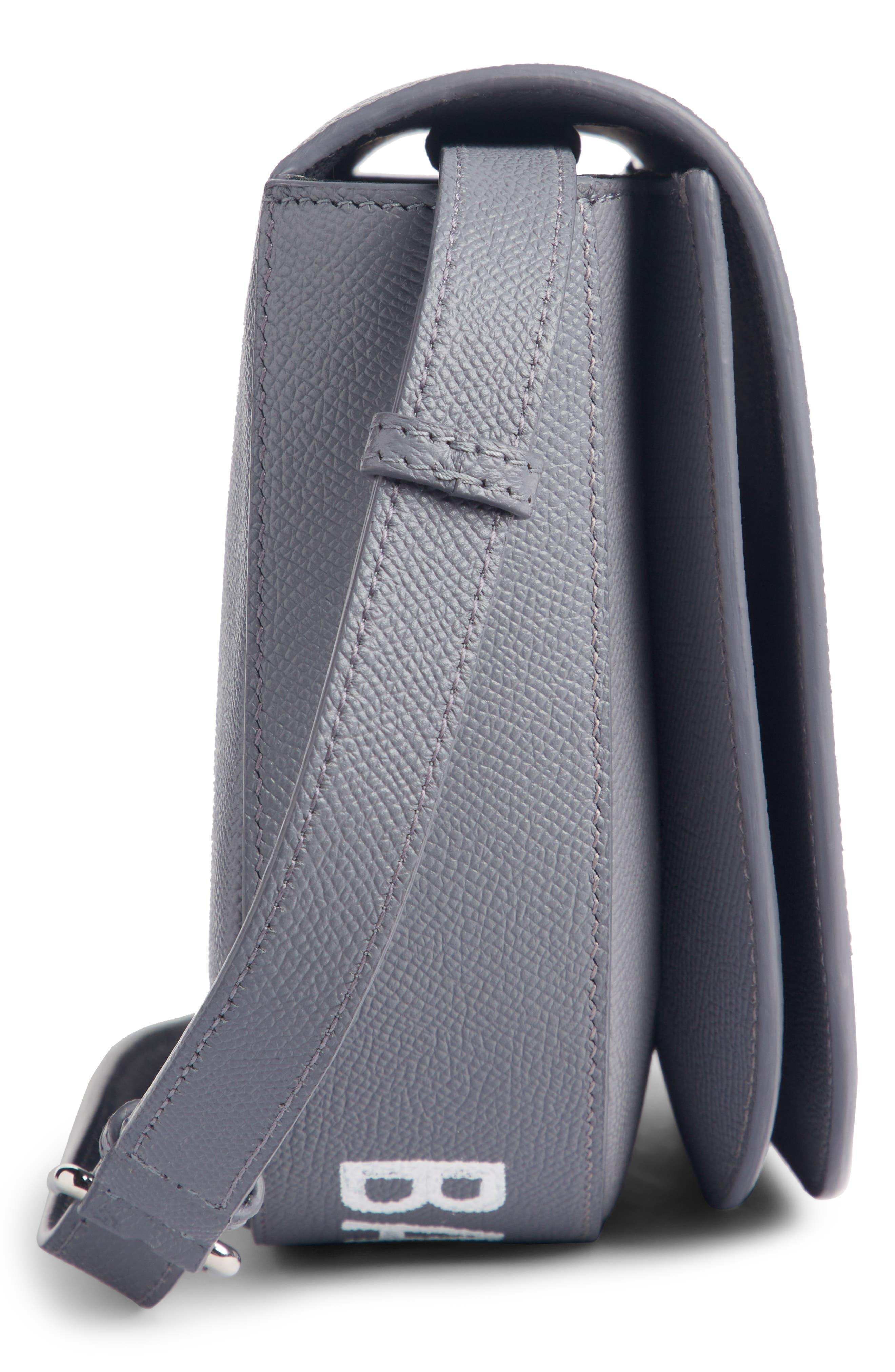 Small Ville Logo Leather Saddle Bag,                             Alternate thumbnail 4, color,                             075