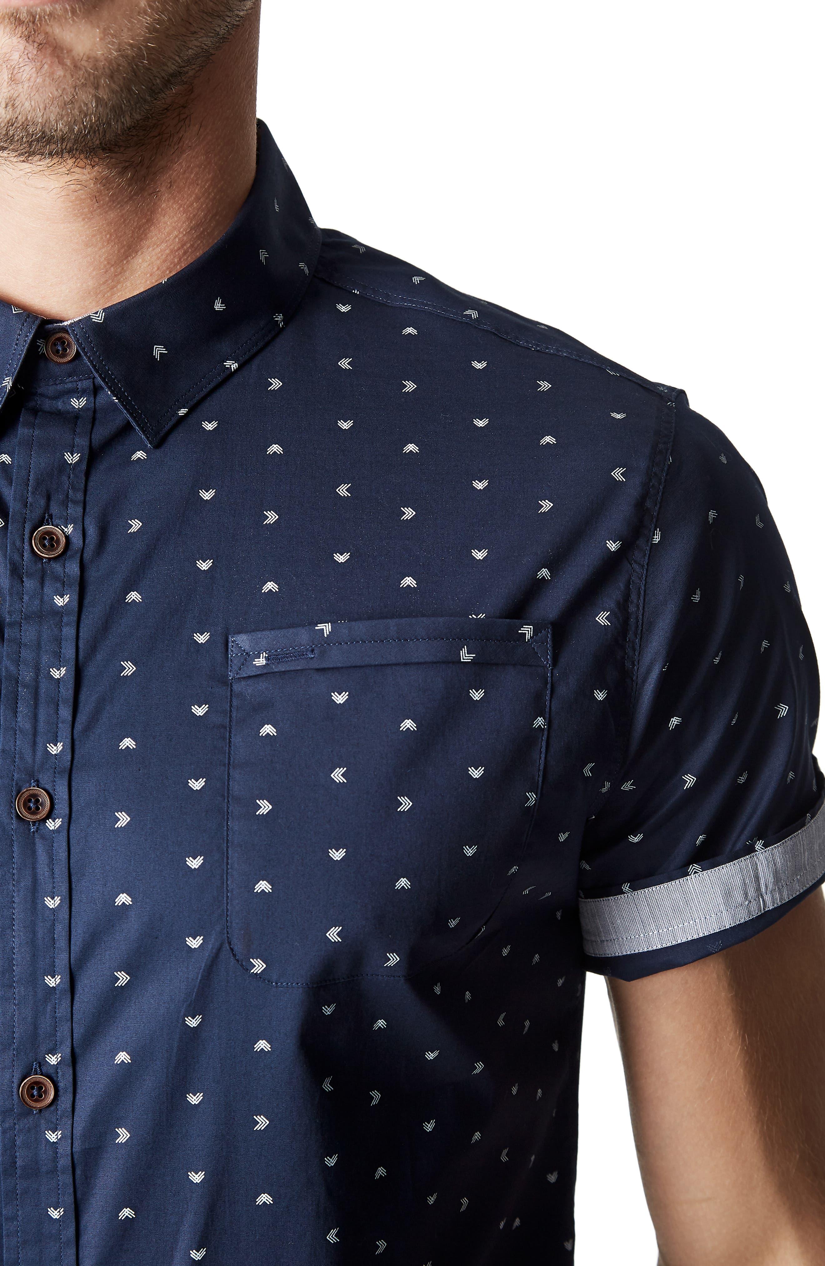 7 DIAMONDS,                             Rhythm Nation Trim Fit Stretch Short Sleeve Sport Shirt,                             Alternate thumbnail 2, color,                             NAVY