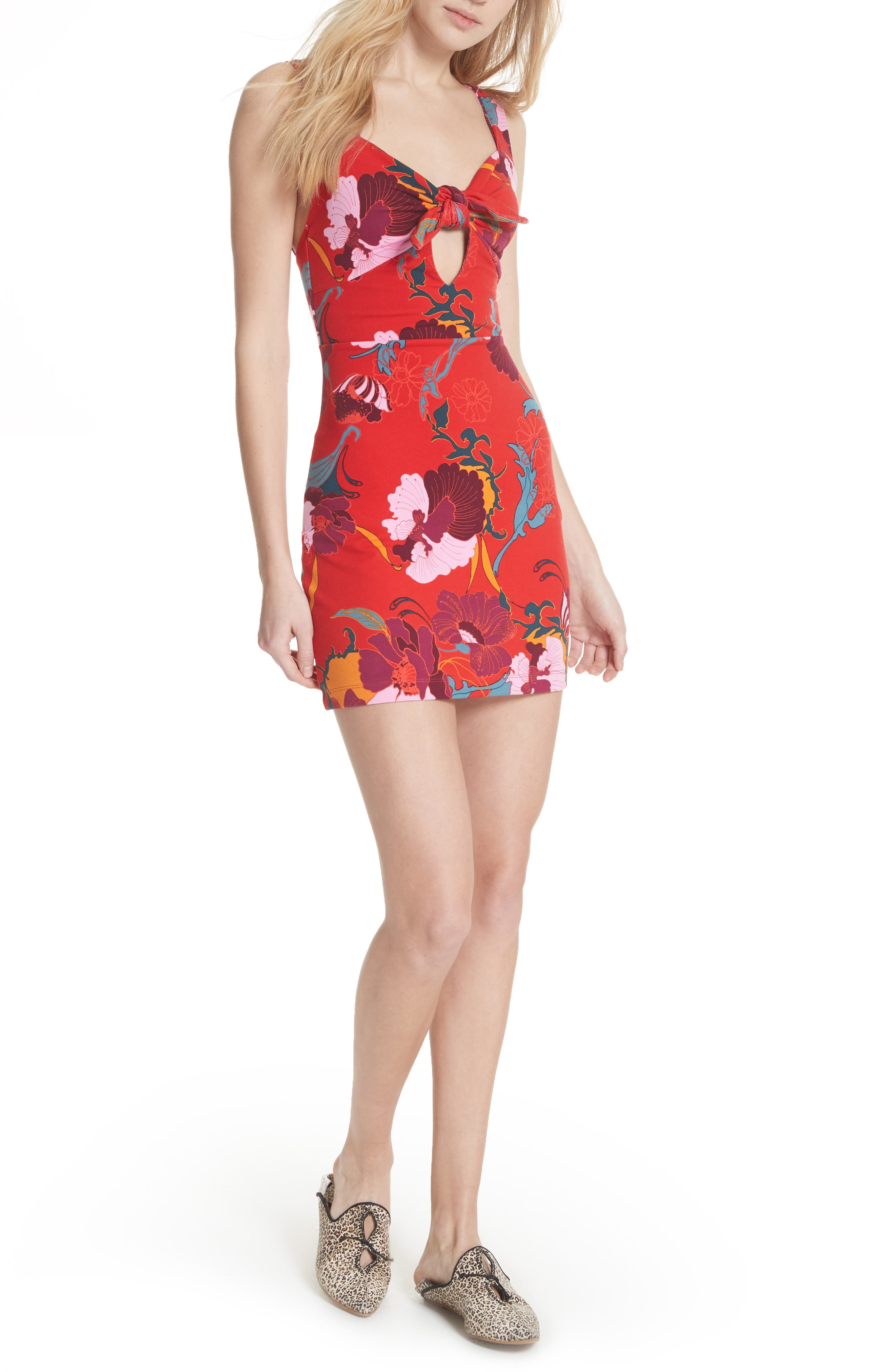 Sweet Cherry Front Tie Minidress,                             Main thumbnail 1, color,                             600