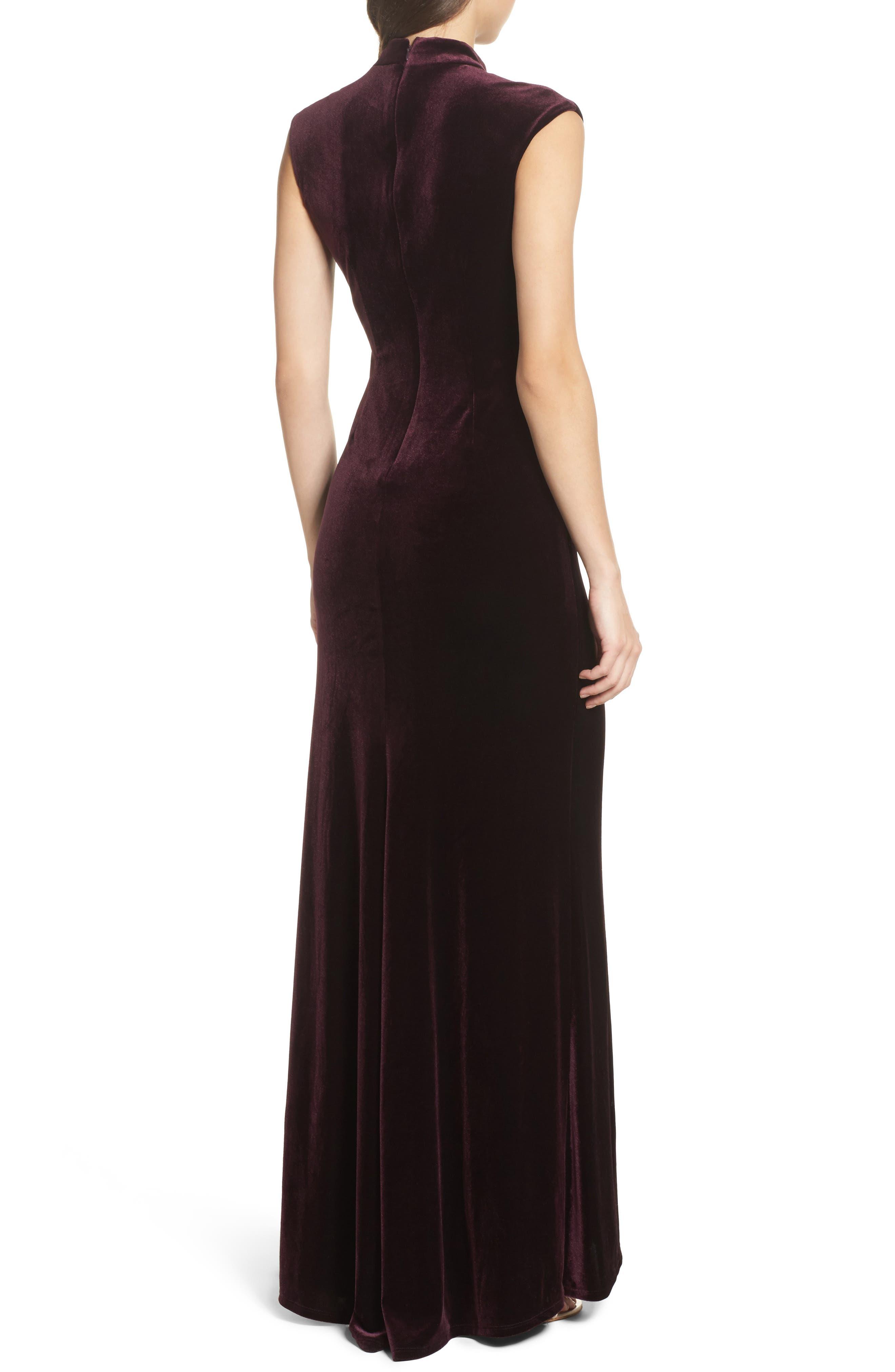Side Pleated Velvet Choker Gown,                             Alternate thumbnail 2, color,                             507