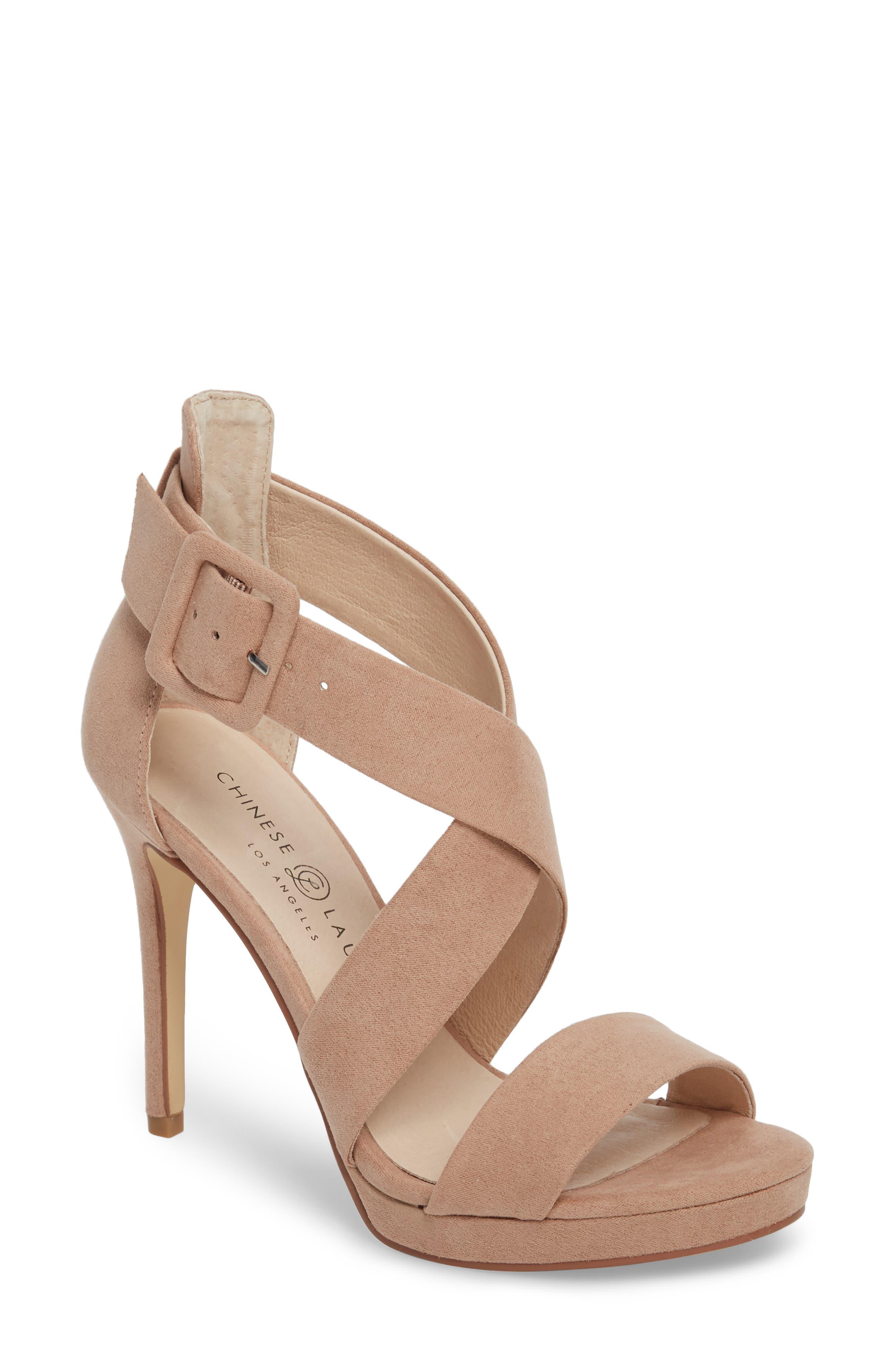 Foxie Cross Strap Sandal,                         Main,                         color, DARK CAMEL
