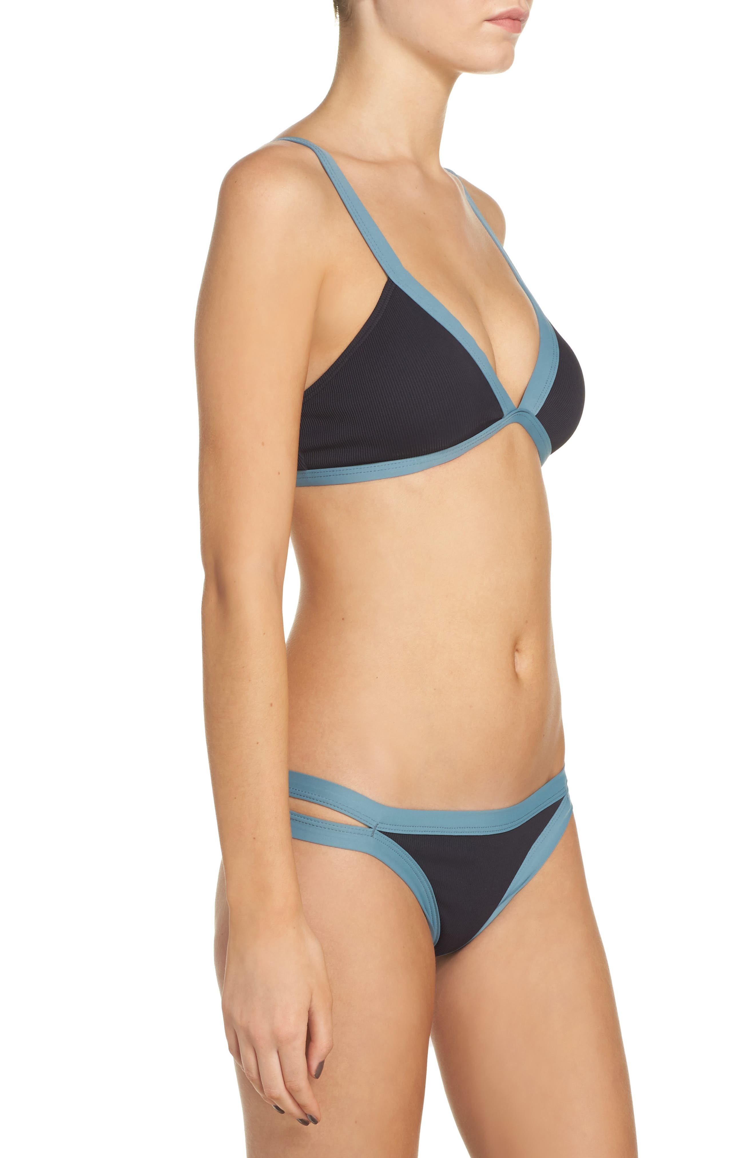 Farrah Ribbed Bikini Top,                             Alternate thumbnail 8, color,                             001