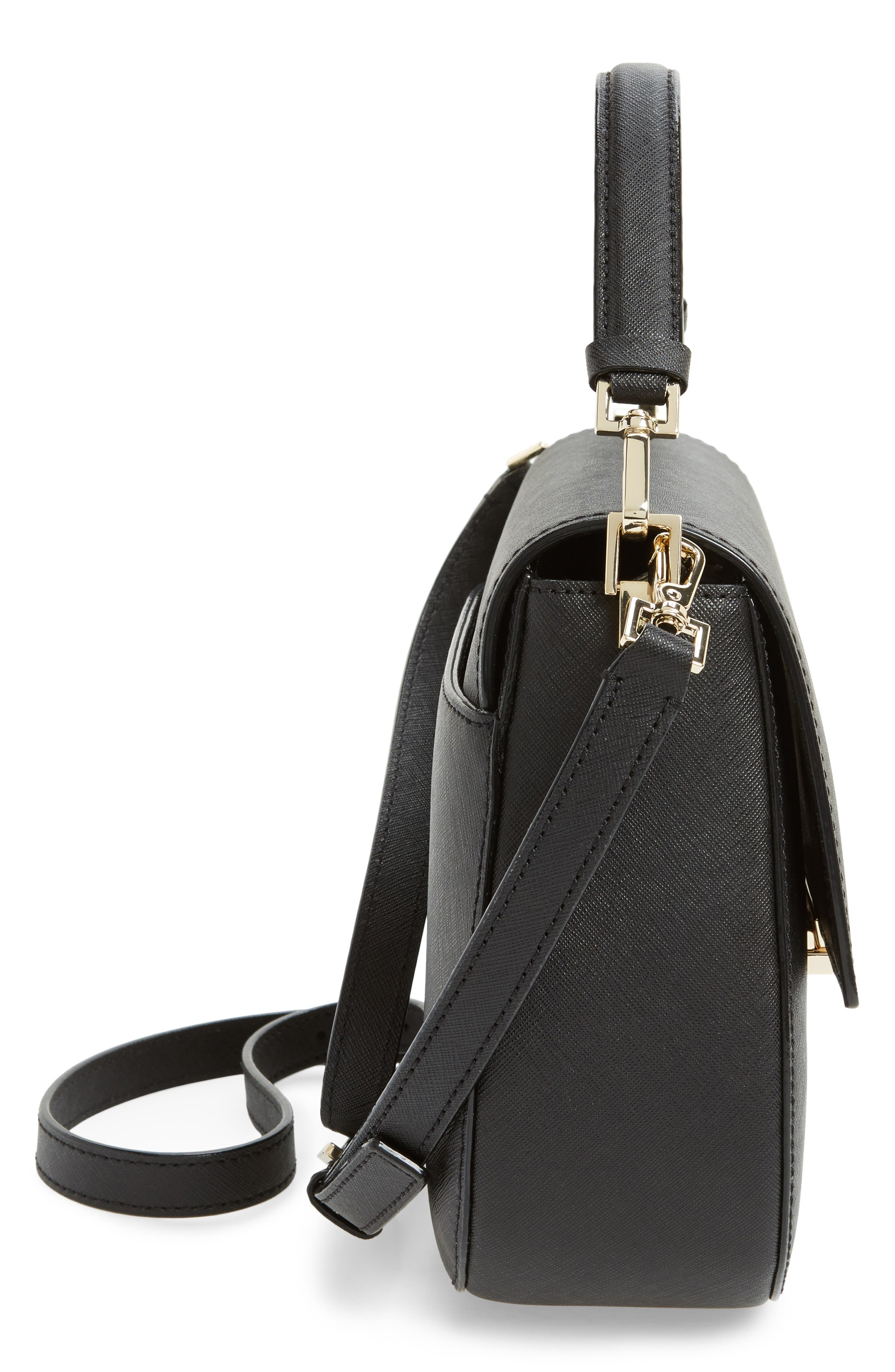 make it mine - byrdie leather saddle bag,                             Alternate thumbnail 5, color,                             001