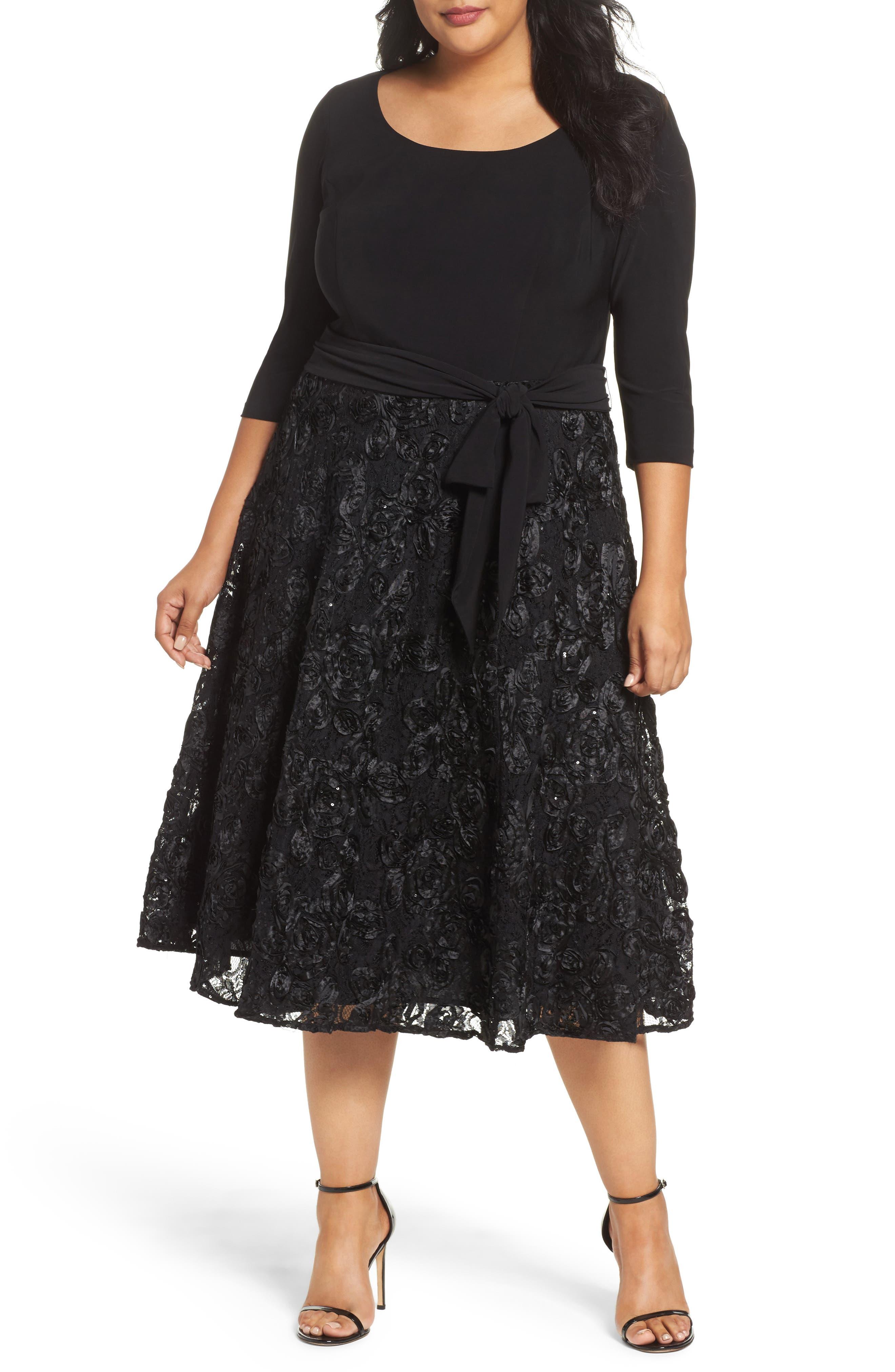 Tea Length Jersey & Rosette Lace Dress,                             Main thumbnail 1, color,