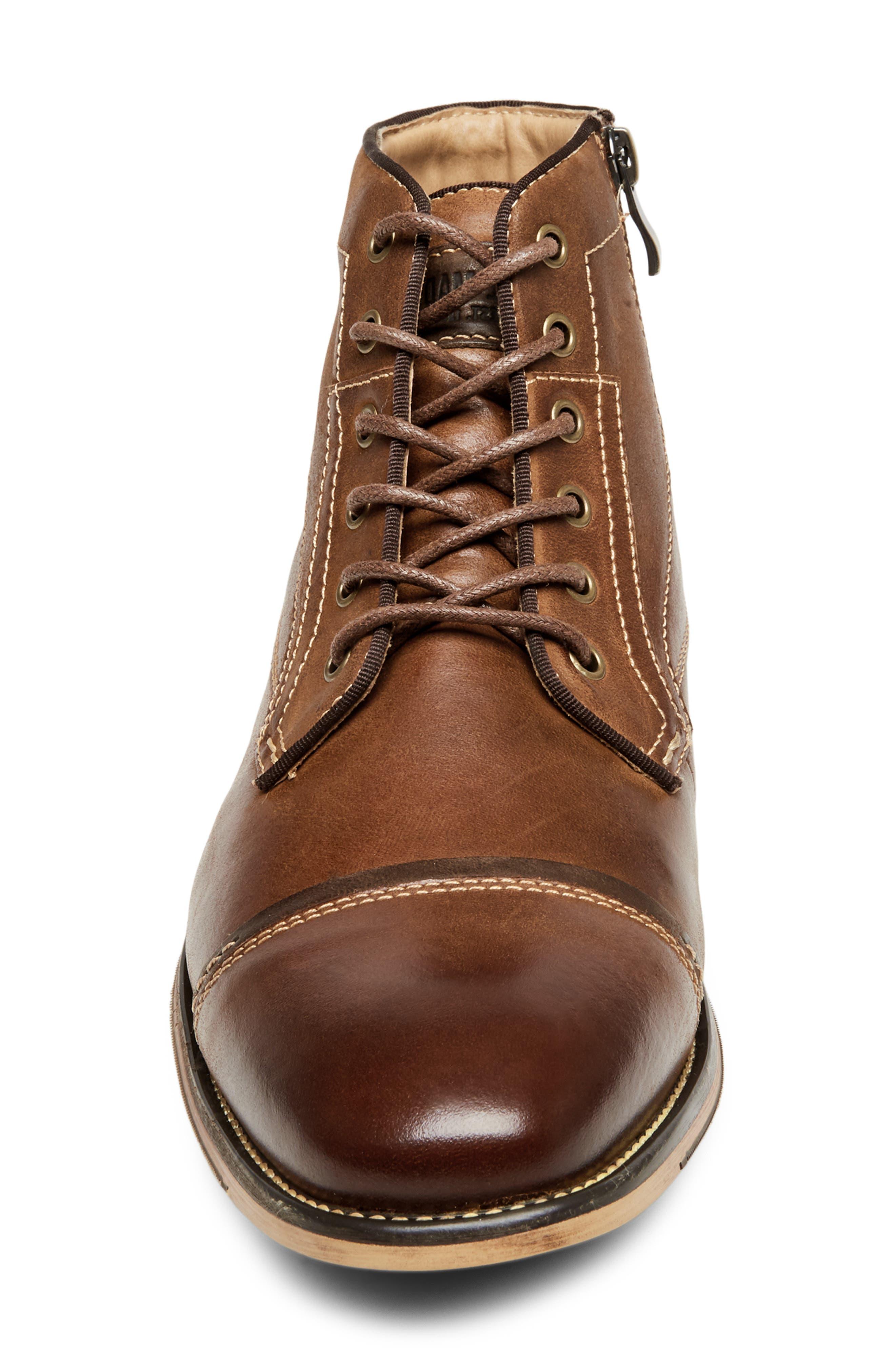 Jeffries Cap Toe Boot,                             Alternate thumbnail 4, color,                             DARK TAN