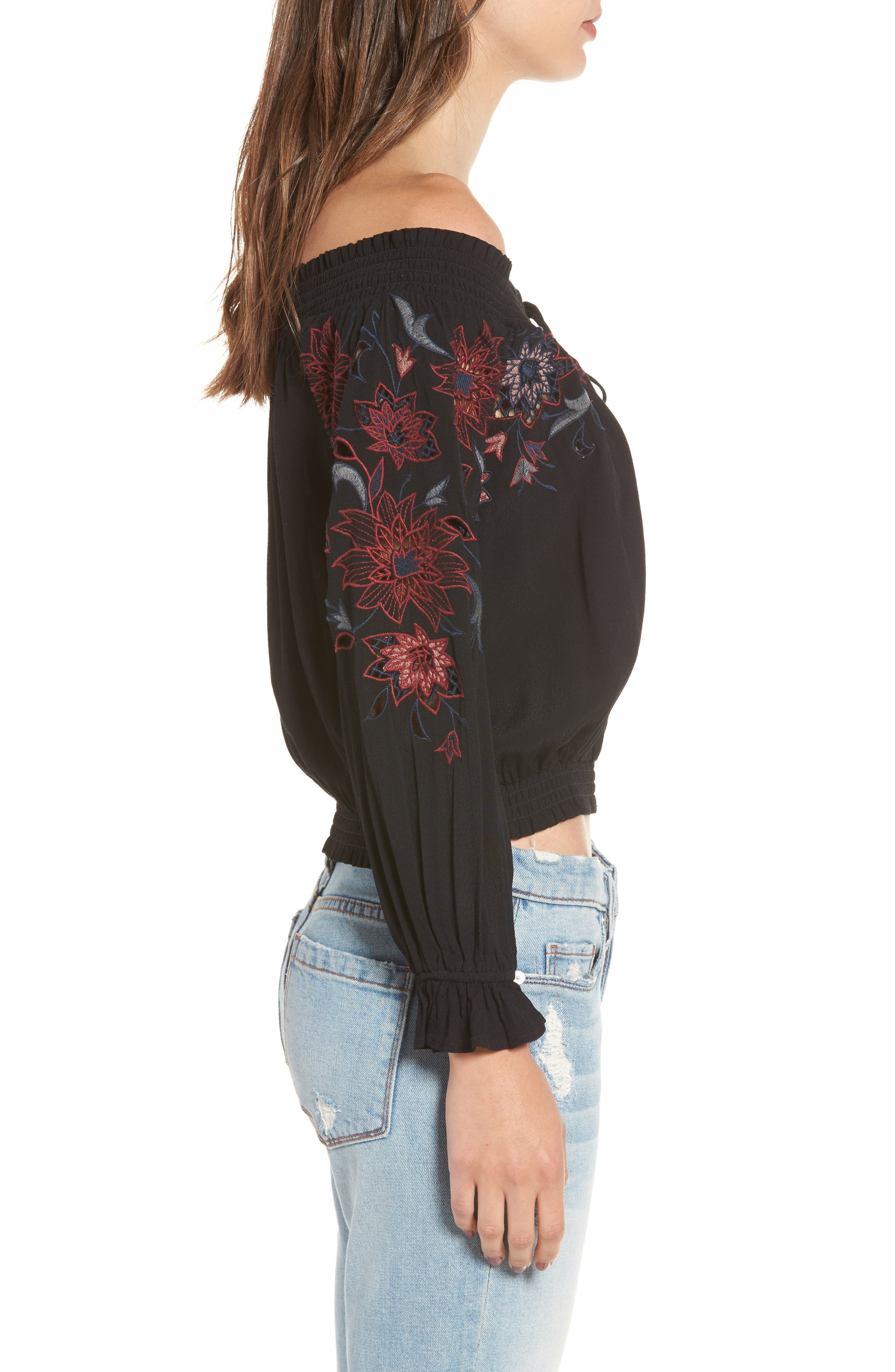 Kelly Off the Shoulder Top,                             Alternate thumbnail 3, color,                             001
