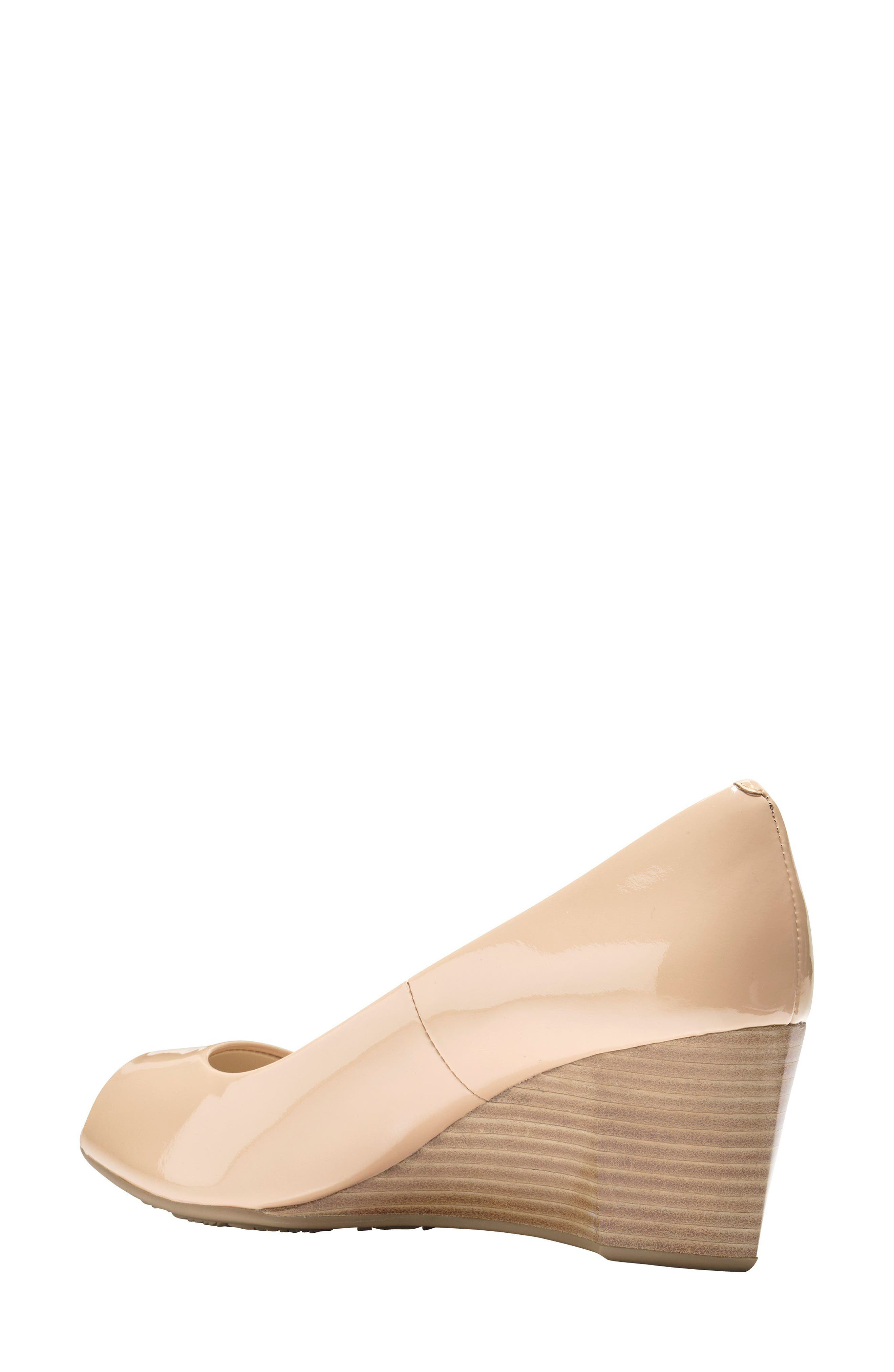 Sadie Open Toe Wedge Pump,                             Main thumbnail 1, color,                             NUDE PATENT LEATHER