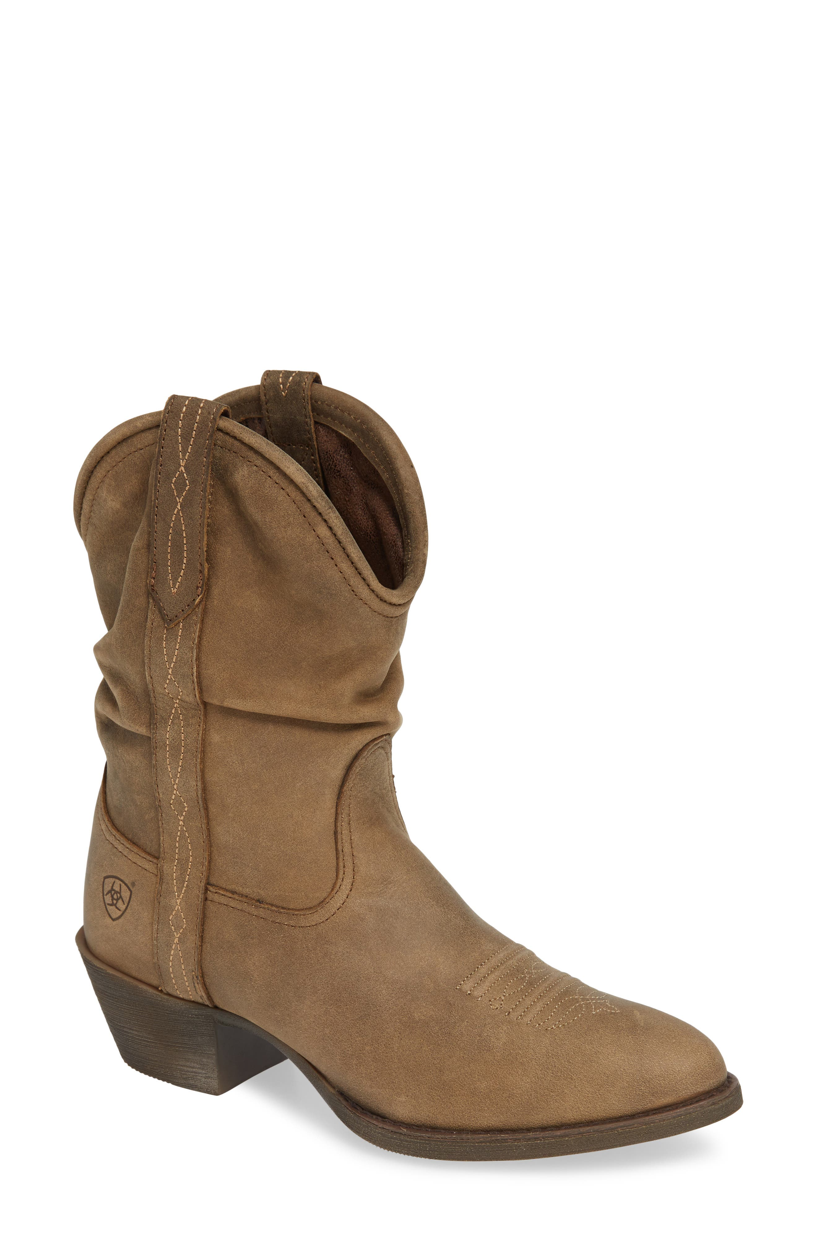Reina Slouchy Western Boot,                             Main thumbnail 1, color,                             BROWN BOMBER LEATHER