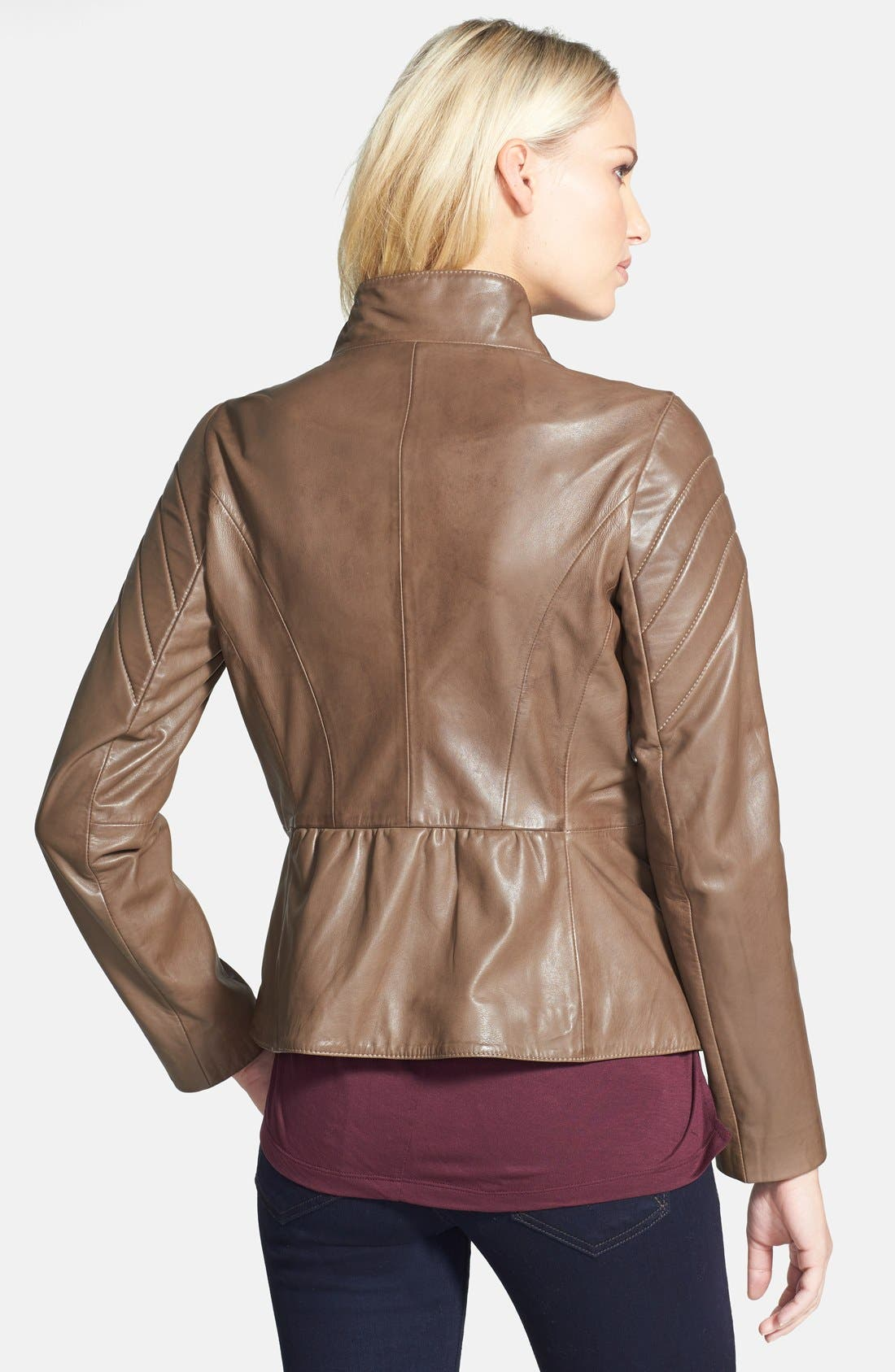 ELIE TAHARI,                             'Celeste' Asymmetrical Leather Moto Jacket,                             Alternate thumbnail 2, color,                             200