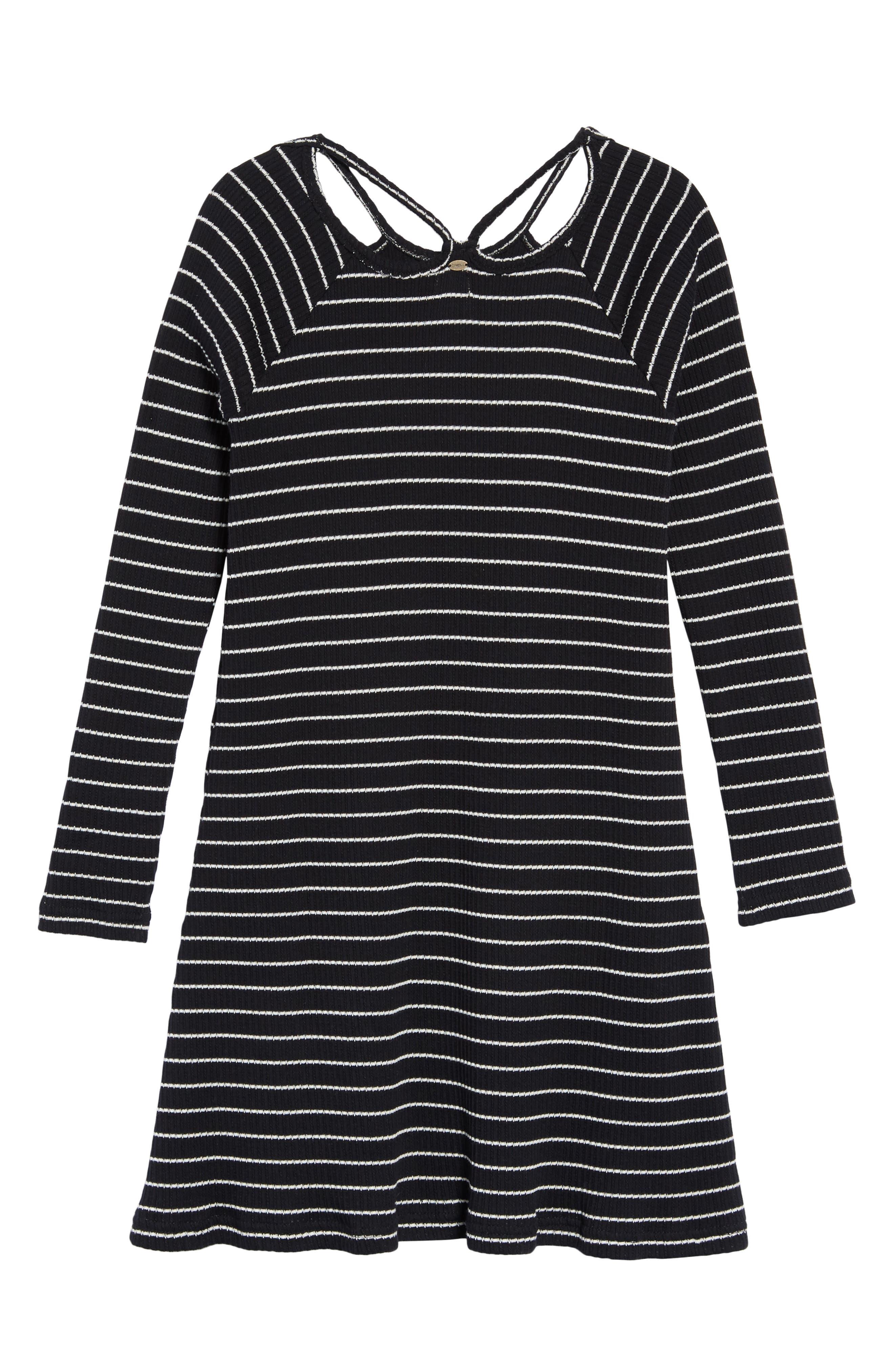 Millie Stripe Knit Dress,                             Alternate thumbnail 2, color,                             BLACK
