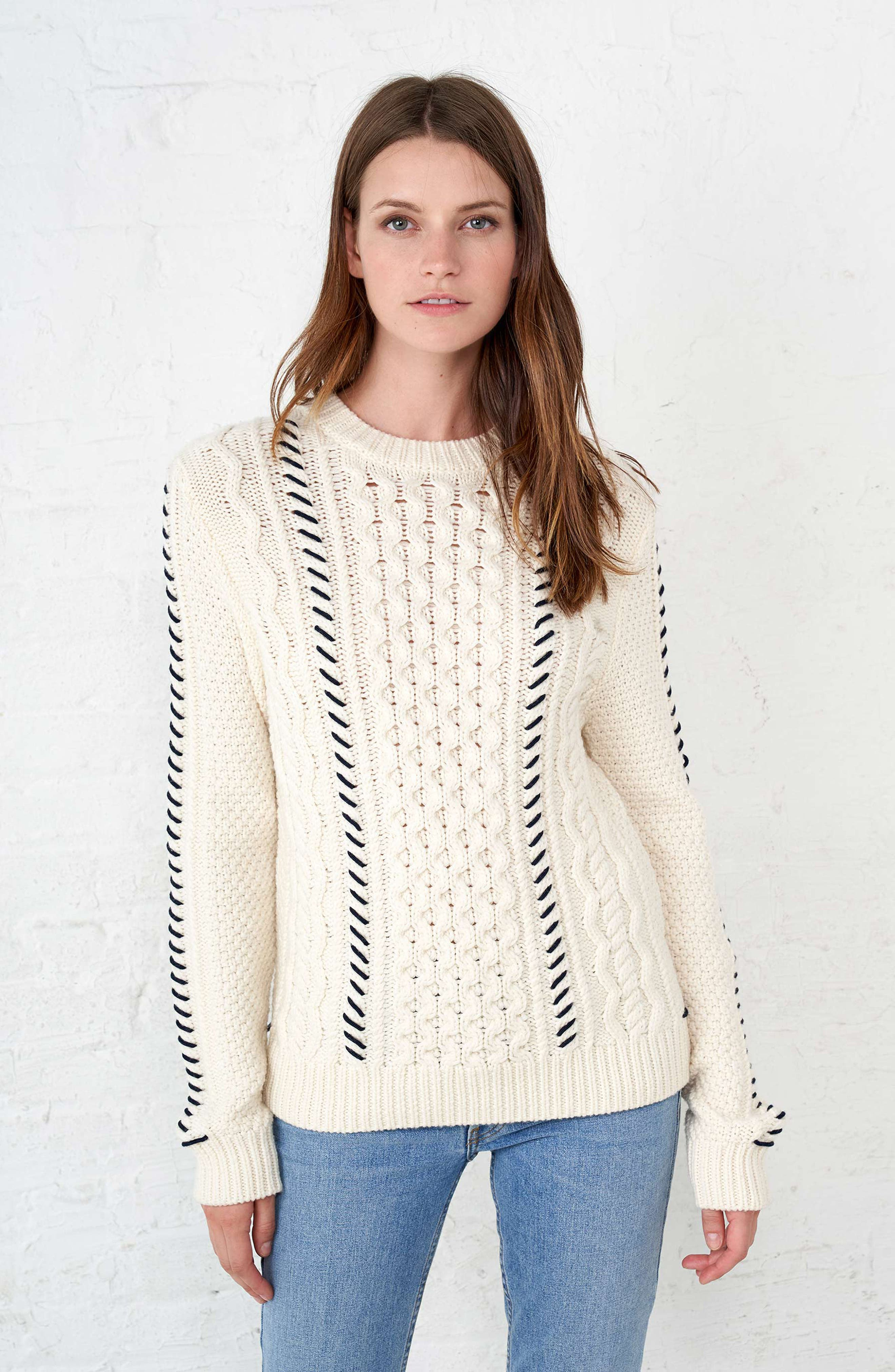 Cotton Fisherman Sweater,                             Alternate thumbnail 7, color,                             WHITE NAVY