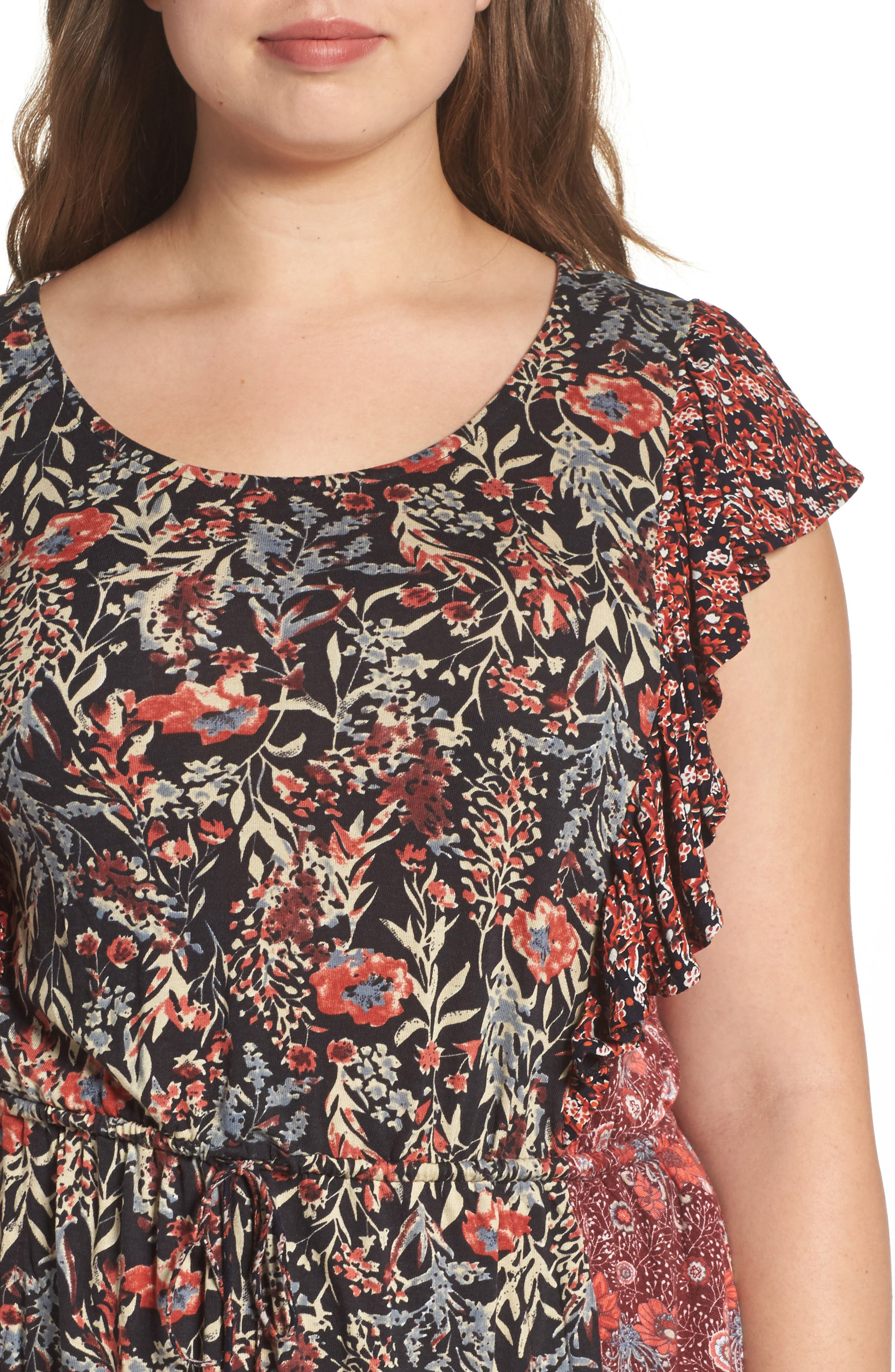 Mixed Floral Print Dress,                             Alternate thumbnail 4, color,                             640
