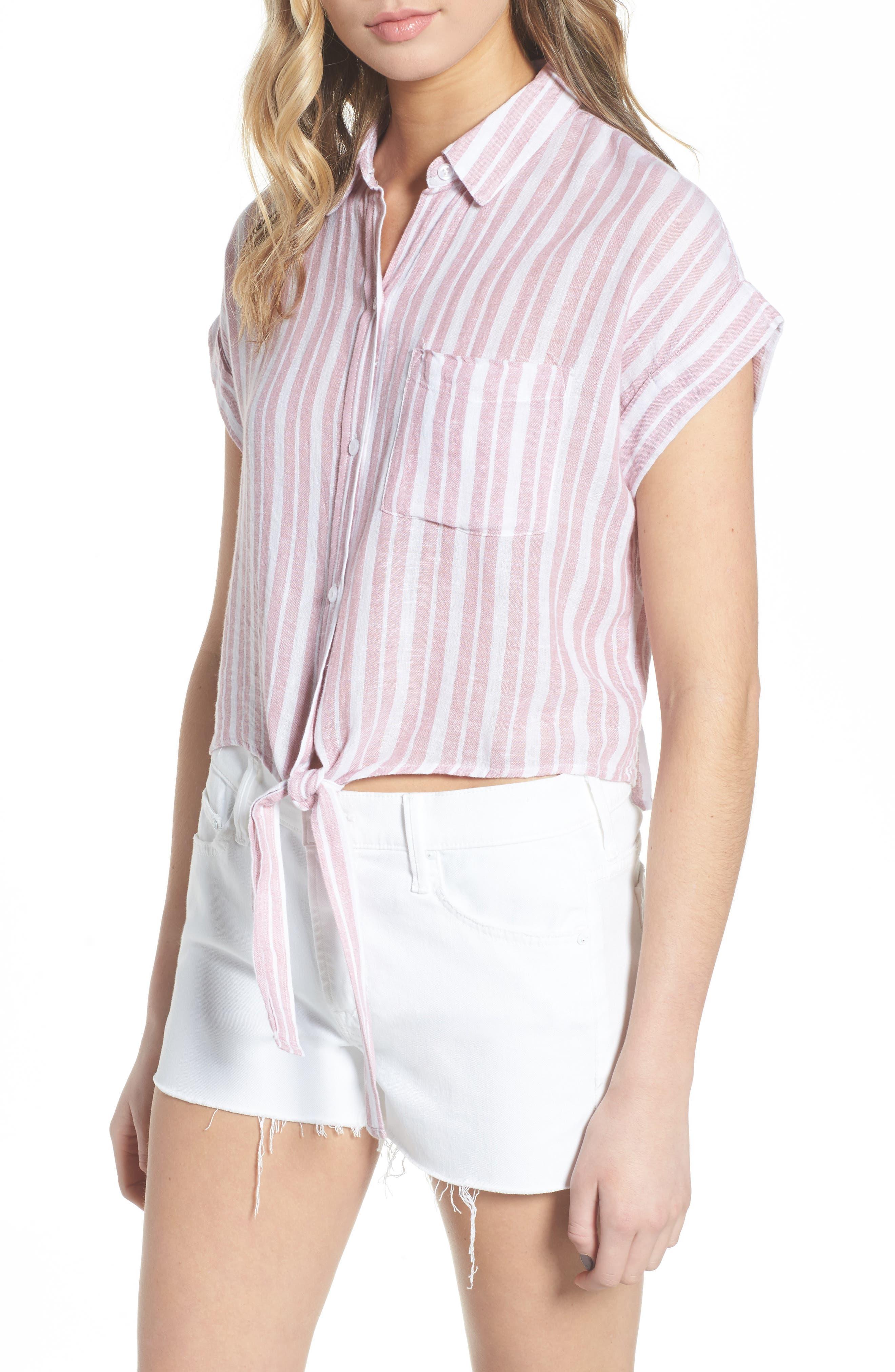 Amelie Tie Front Shirt,                             Main thumbnail 1, color,                             BORDEAUX STRIPE