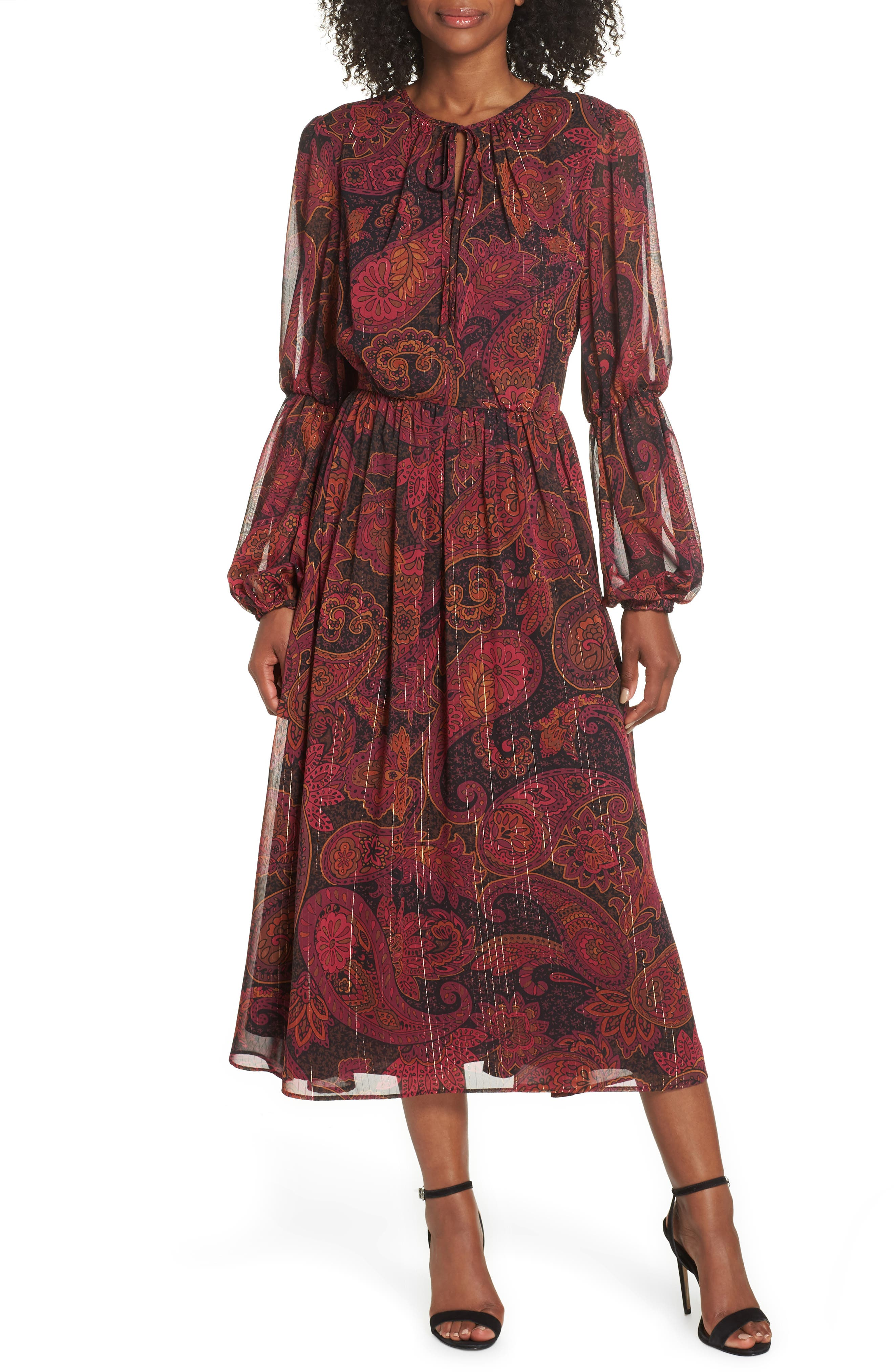 Double Puff Sleeve Midi Dress,                             Main thumbnail 1, color,                             BLACK / CABERNET