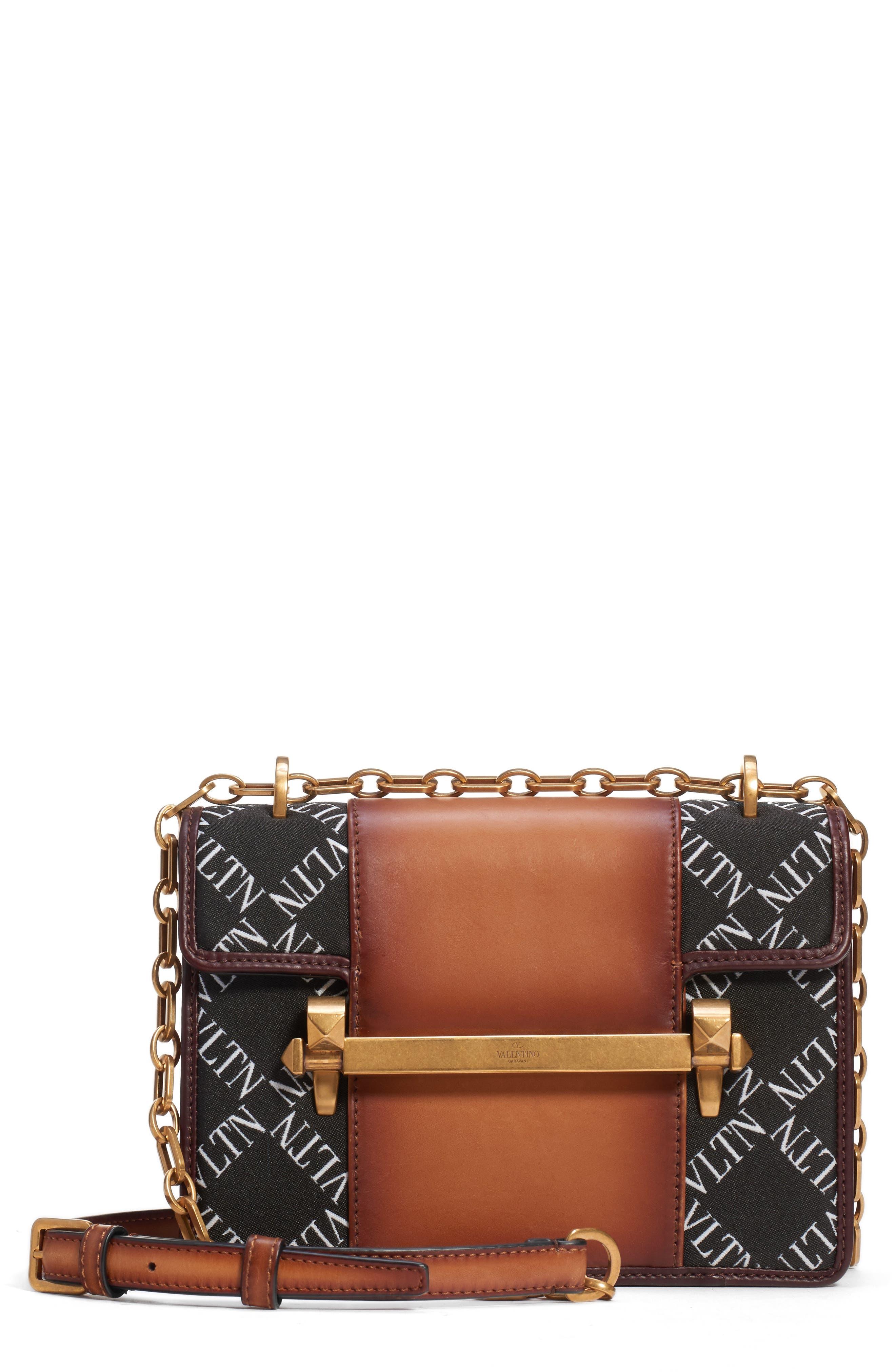 VALENTINO GARAVANI Small Uptown VLTN Logo Shoulder Bag, Main, color, BRIGHT COGNAC/ NERO-BIANCO