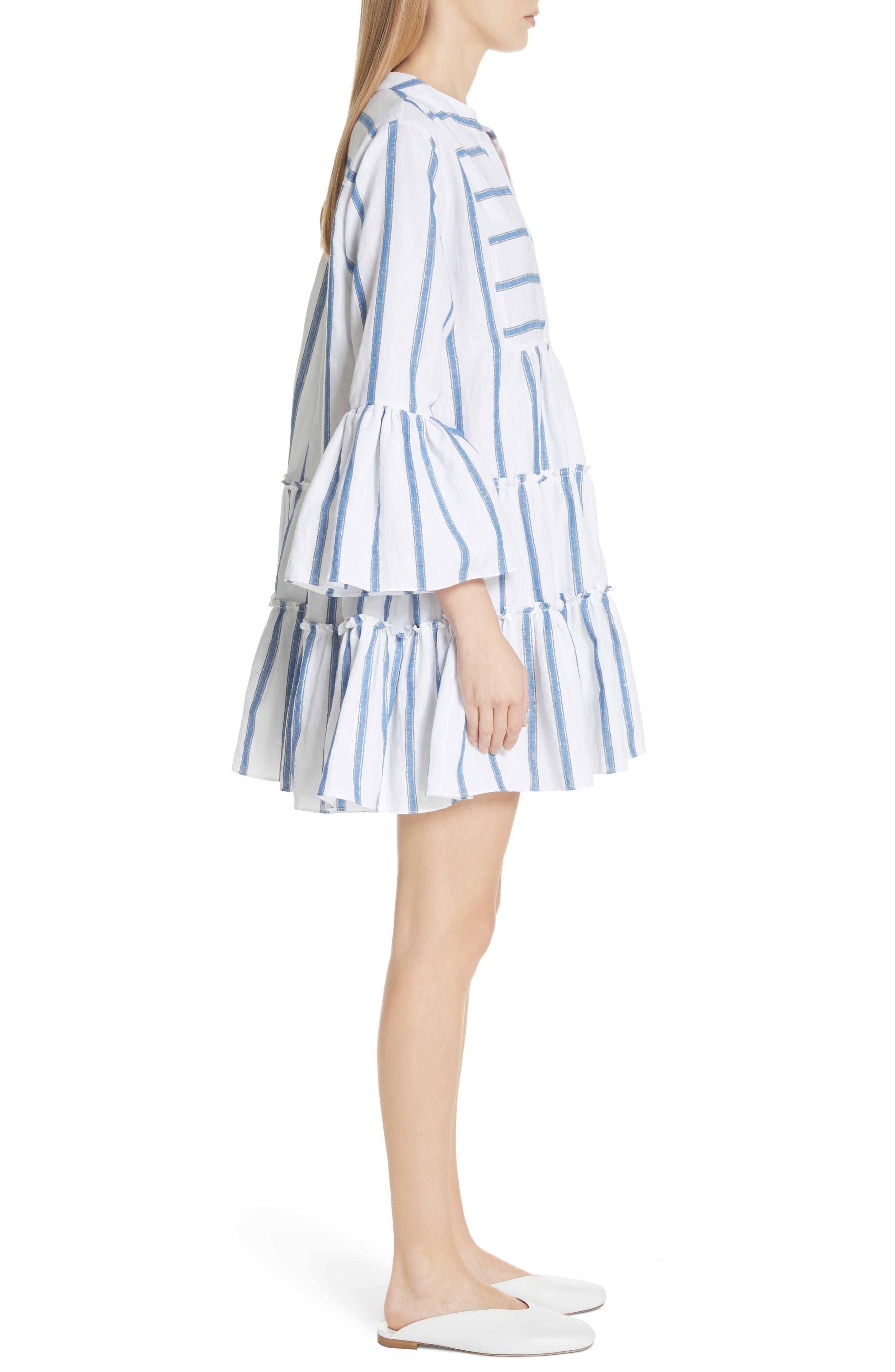 Lyssa Cotton & Linen Blend Dress,                             Alternate thumbnail 3, color,                             WHITE/ BLUE