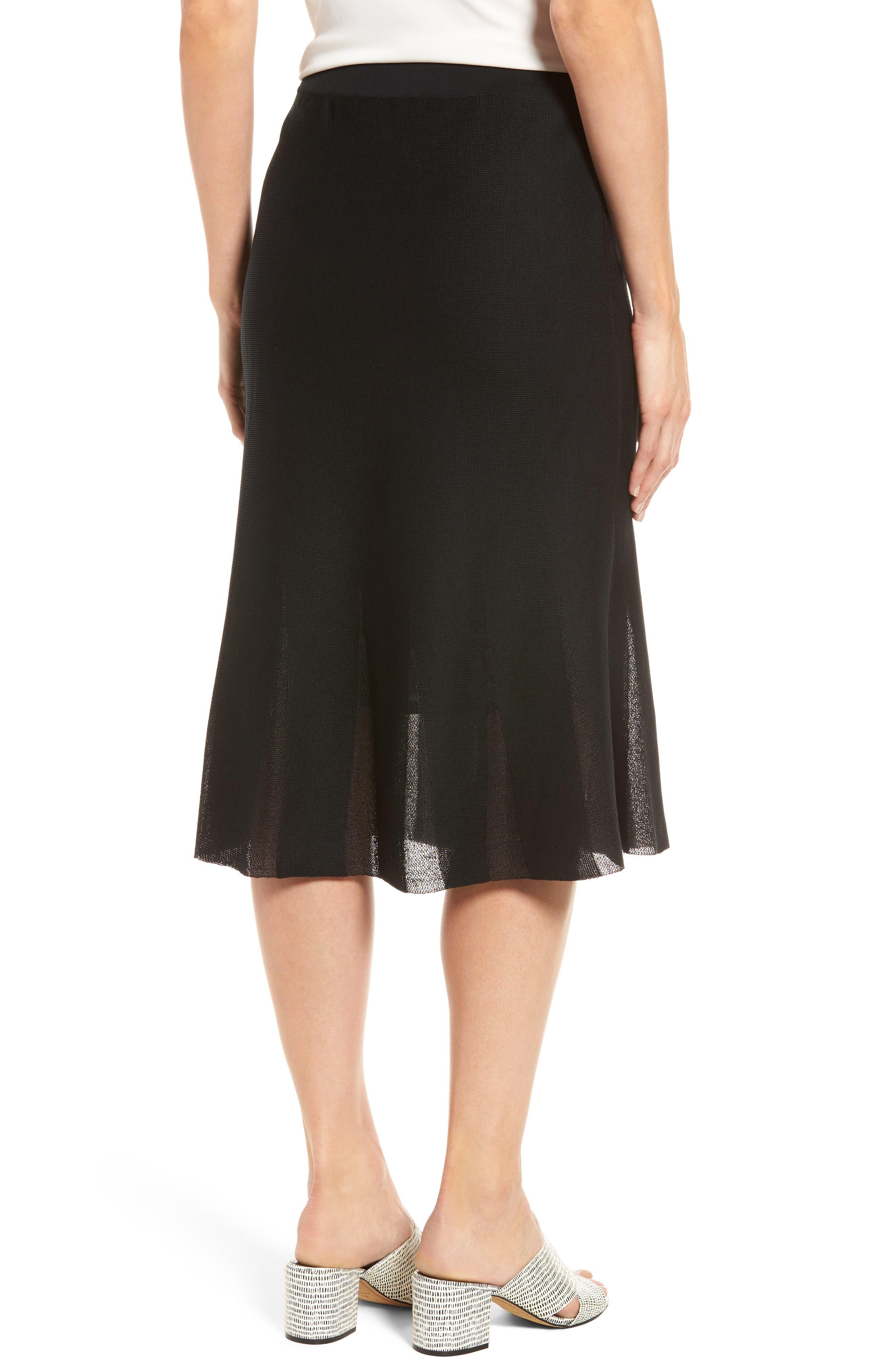 Knit Flared Skirt,                             Alternate thumbnail 2, color,                             BLACK
