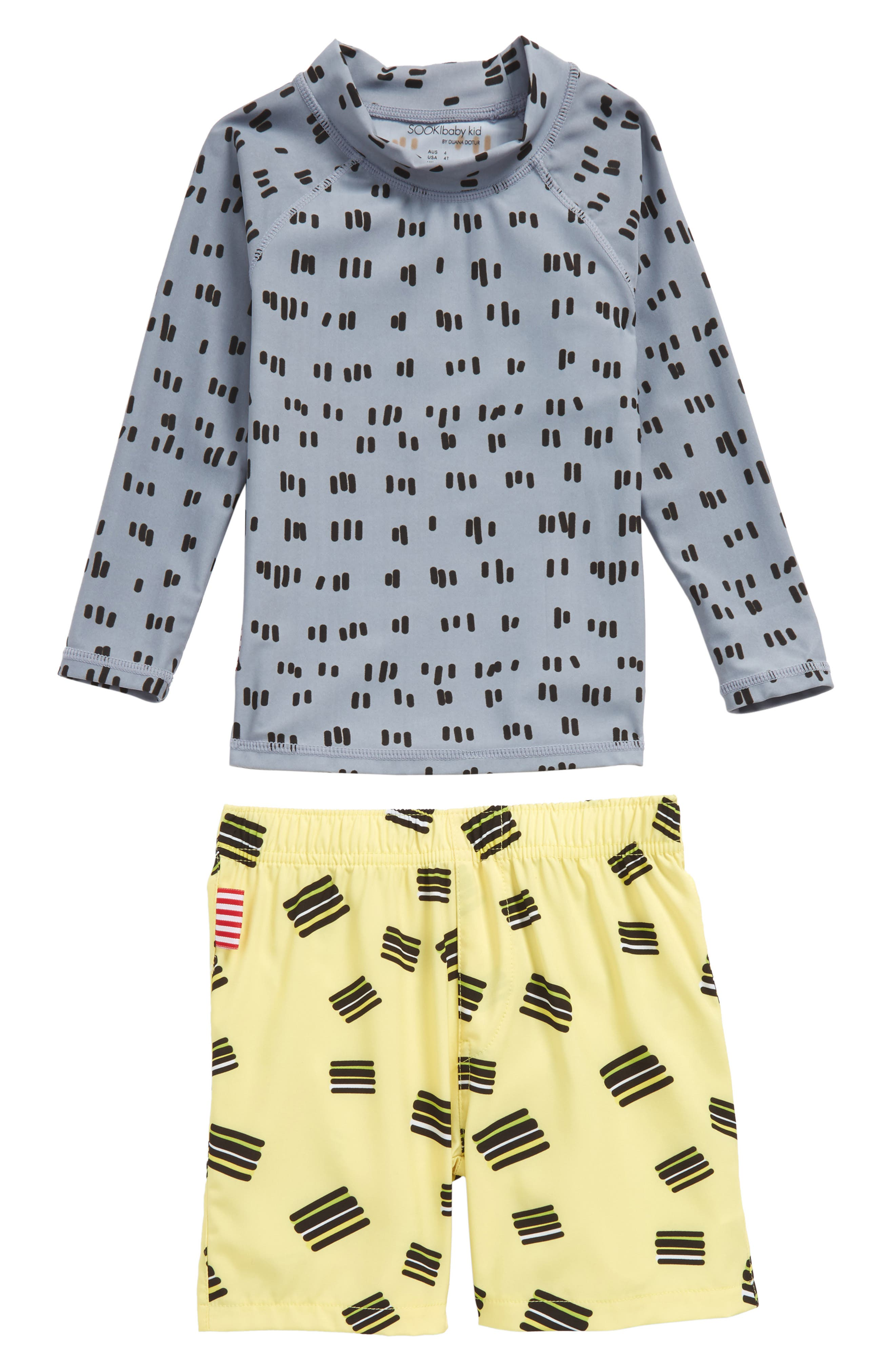 Licorice Two-Piece Rashguard Swim Suit,                         Main,                         color,