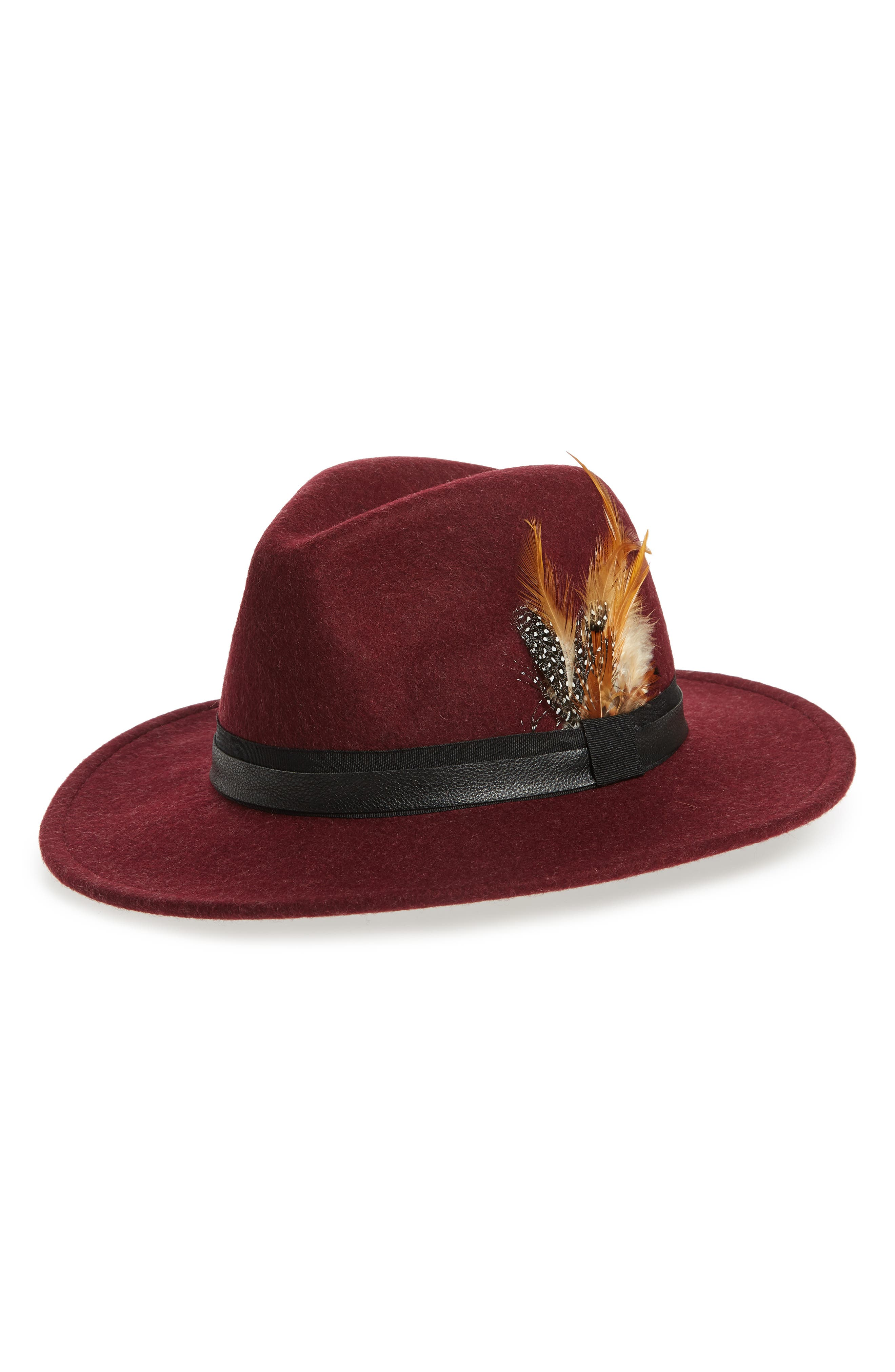 Feather Trim Panama Hat, Main, color, BURGUNDY