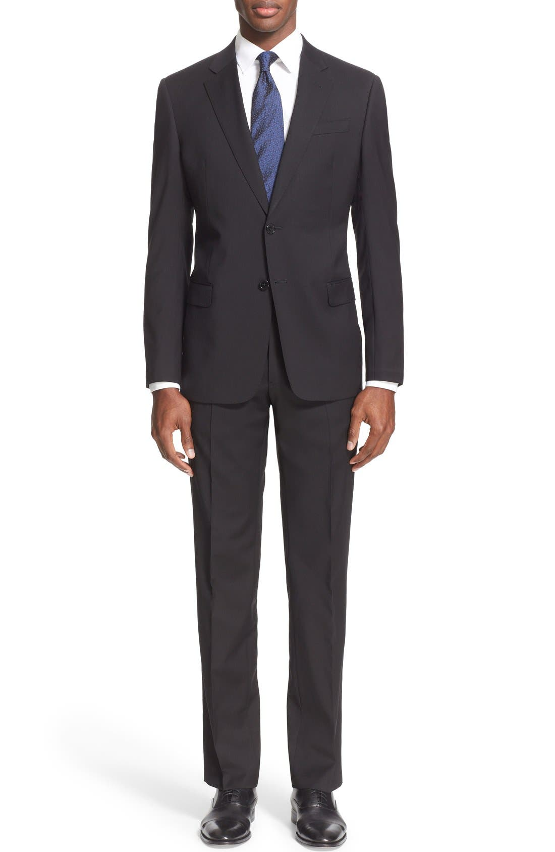 G-Line Trim Fit Solid Wool Suit,                             Main thumbnail 1, color,                             001