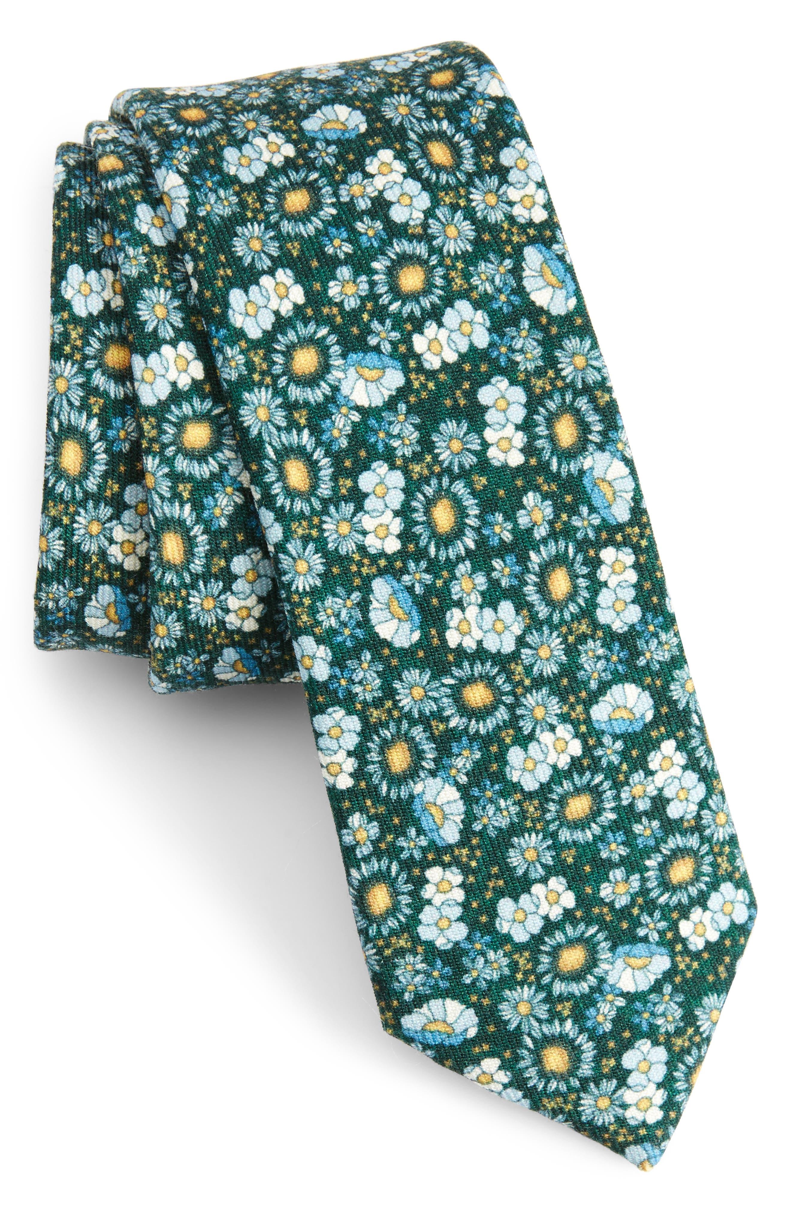 Flower City Wool Skinny Tie,                             Main thumbnail 1, color,